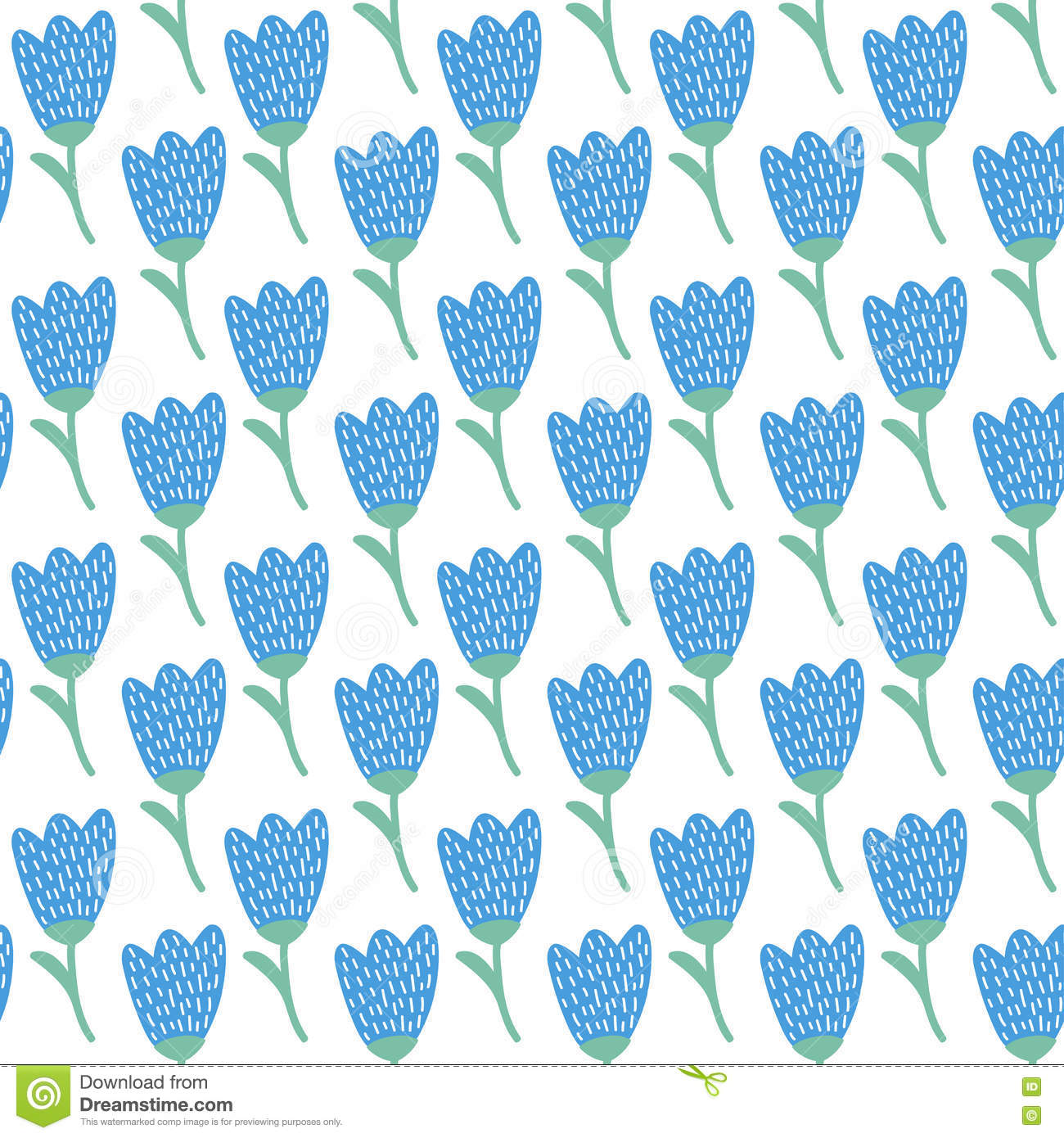 Simple Doodle Blue Tulip Pattern. Cute Flower Seamless Background ...