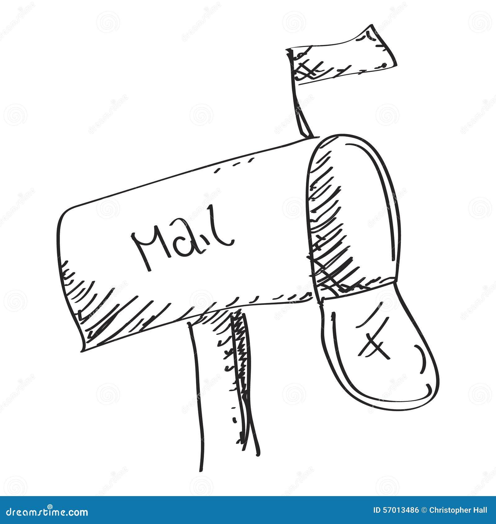 Simple Doodle Of A Mailbox Cartoon Vector | CartoonDealer.com #57000479