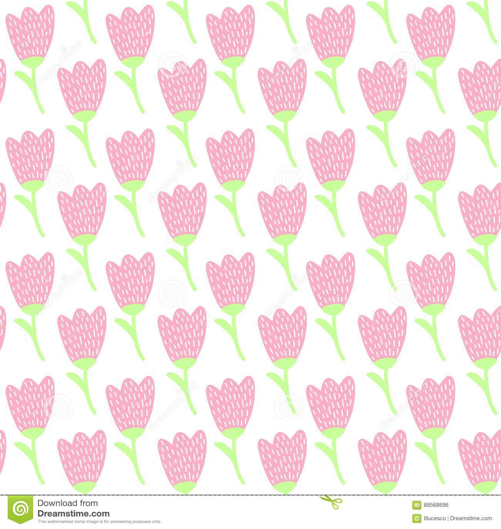 Simple Doodle Pink Tulip Pattern Cute Pastel Flower Seamless Background Summer Wallpaper
