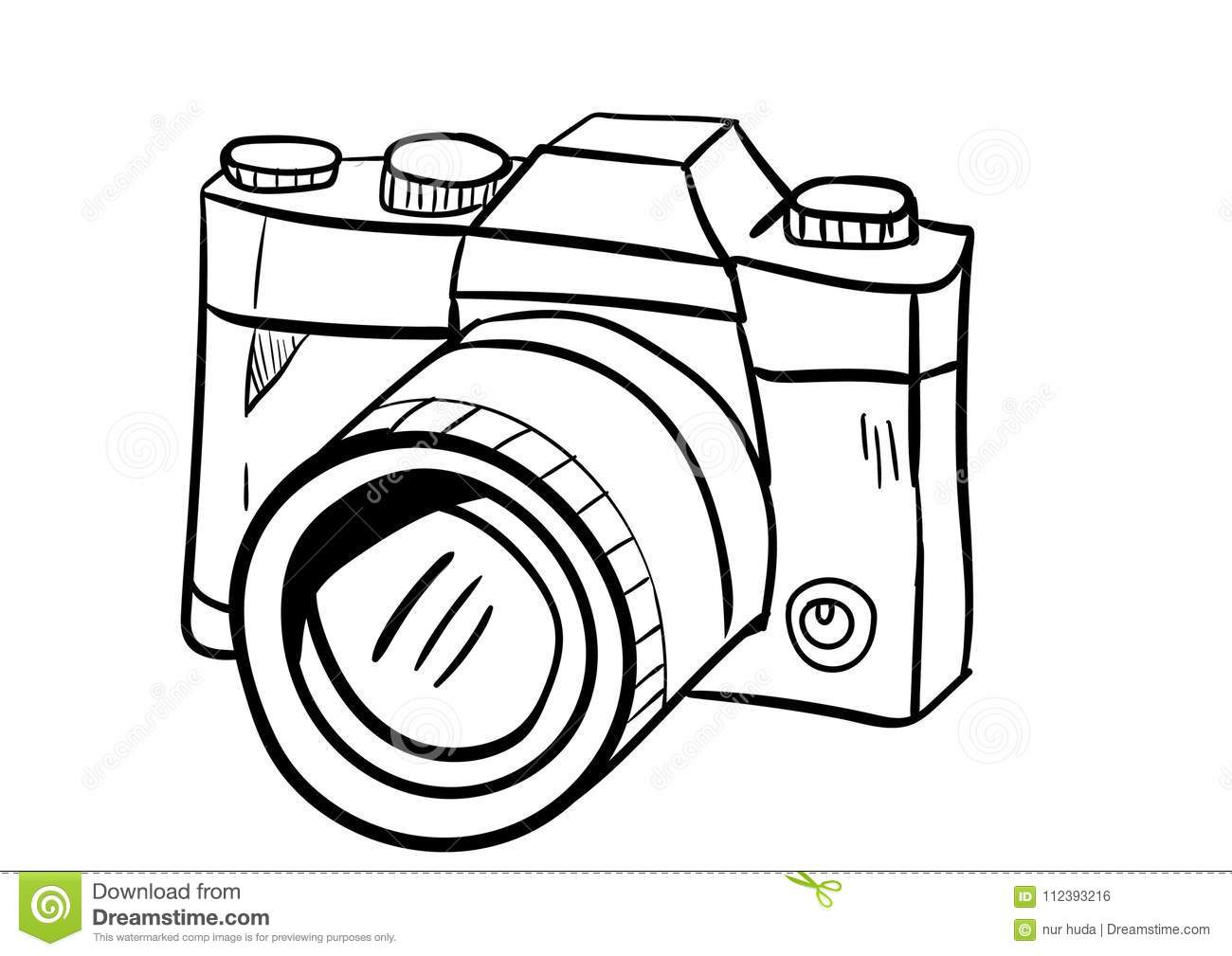 Camera Icon Vector With Doodle Style Stock Vector Illustration Of Digital Frame 112393216