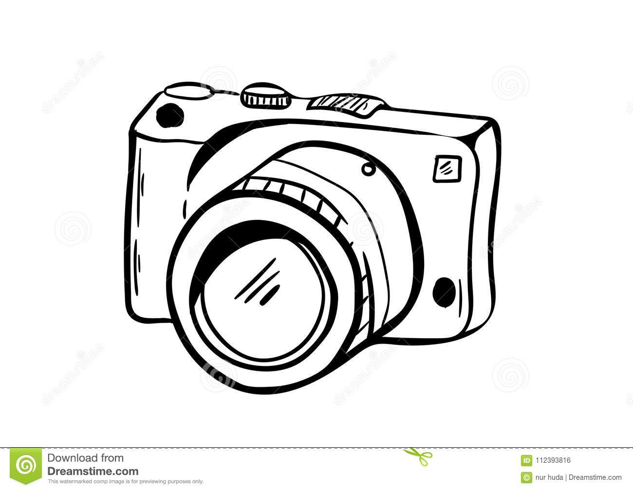 Camera Icon Vector With Doodle Style Stock Illustration - Illustration of drawn, drawing: 112393816