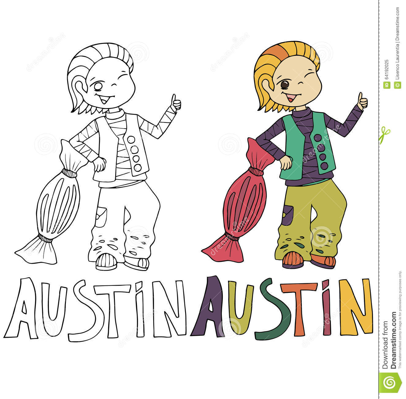 The Simple Drawing Cartoon For Coloring Image Of Children With