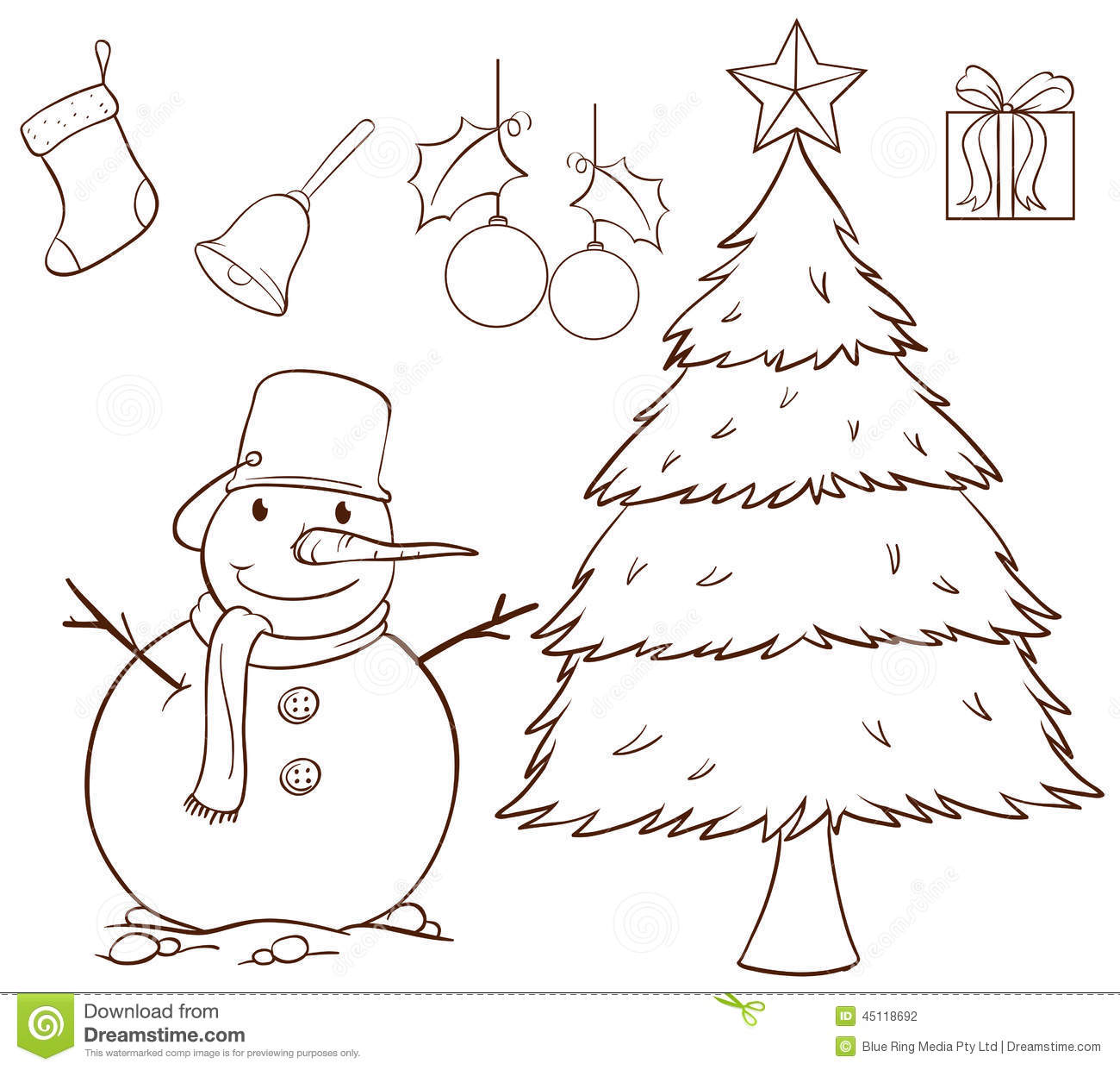 Illustration Of A Simple Drawing For Christmas On White Background