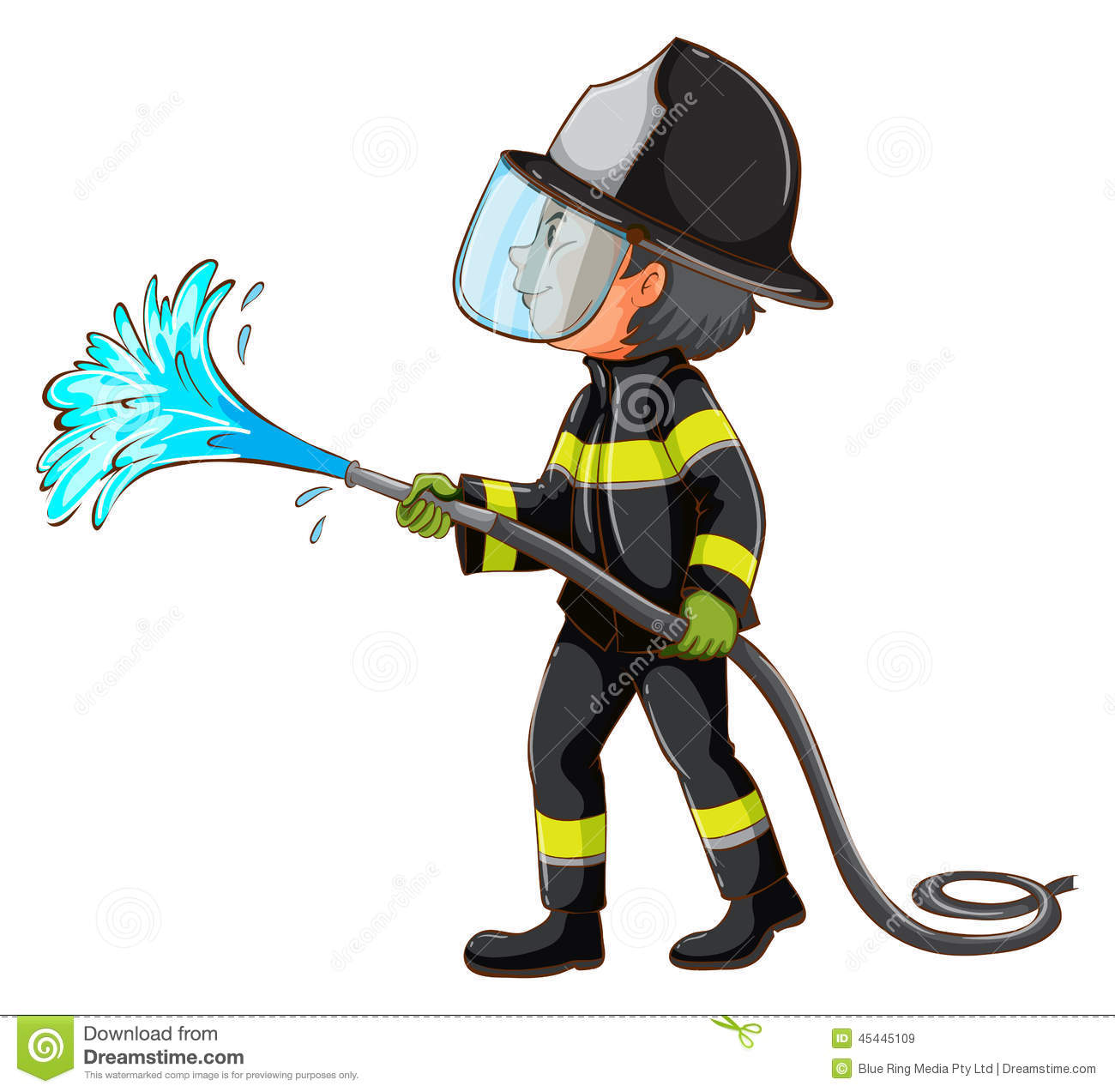... of a simple drawing of a fireman holding a hose on a white background