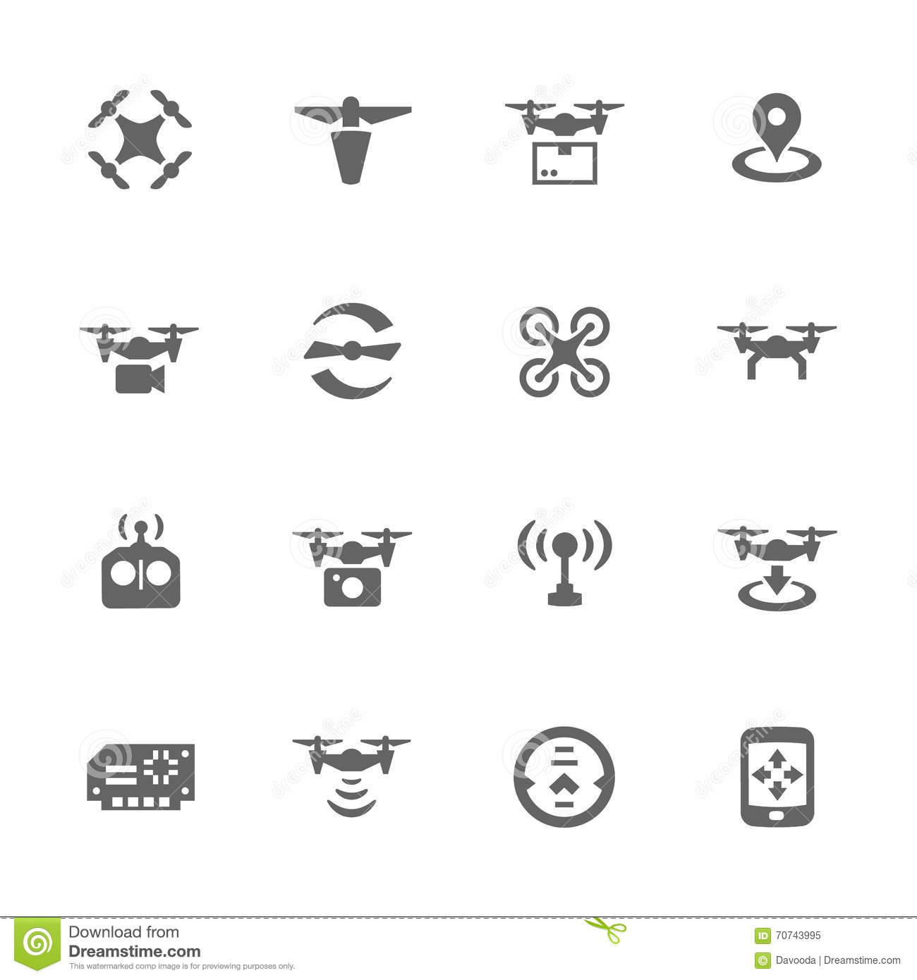simple drone icons stock vector  illustration of controlled