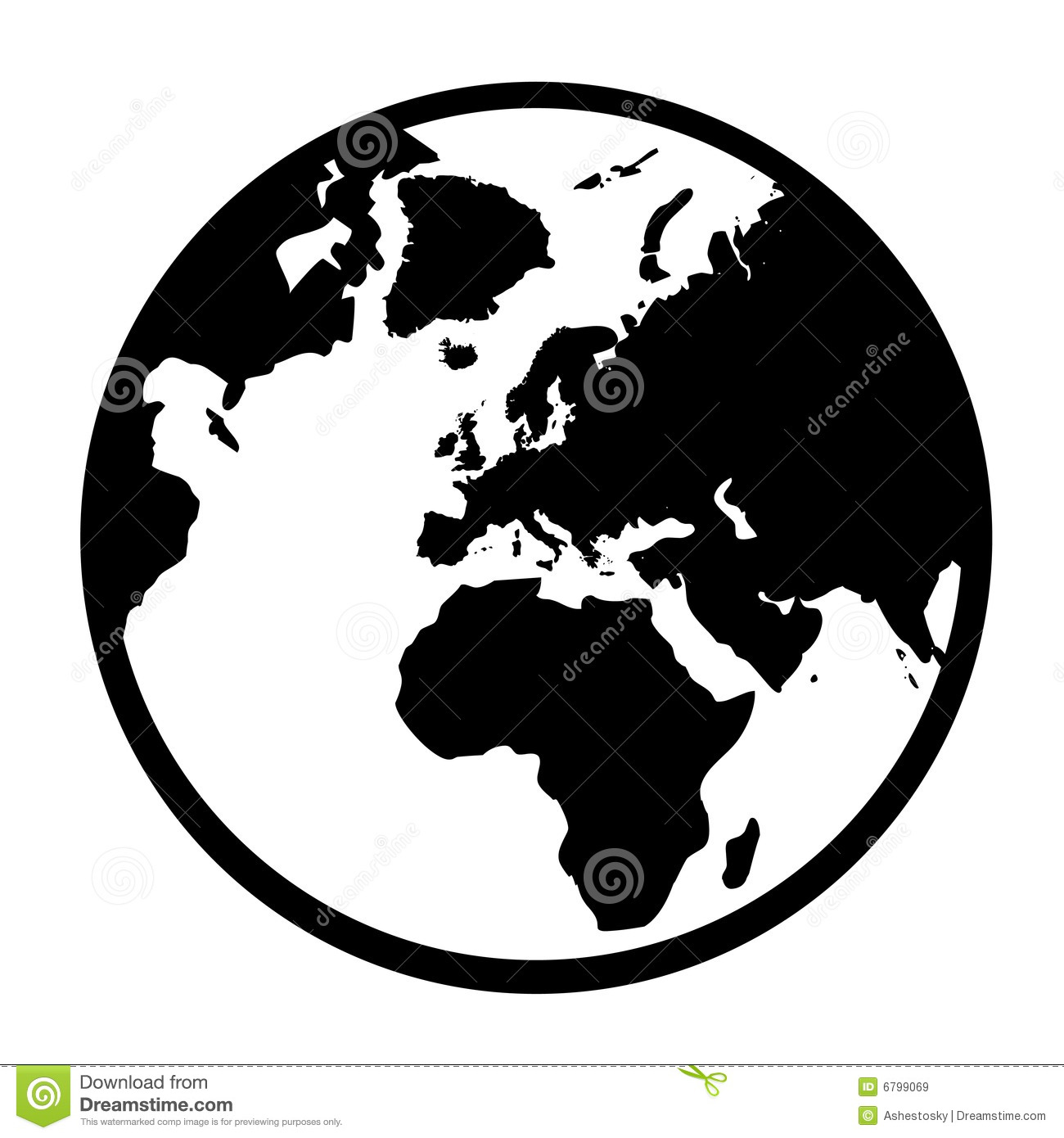 Simple Earth globe in vectorial format