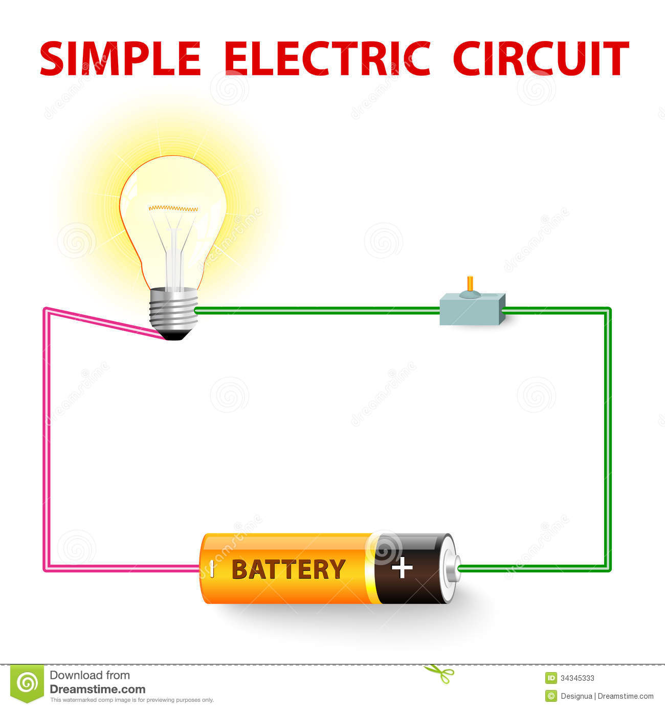A Simple Electric Circuit Stock Vector Illustration Of Closed Wiring Diagram For Switch To Light Electrical Network Bulb Wire And Battery