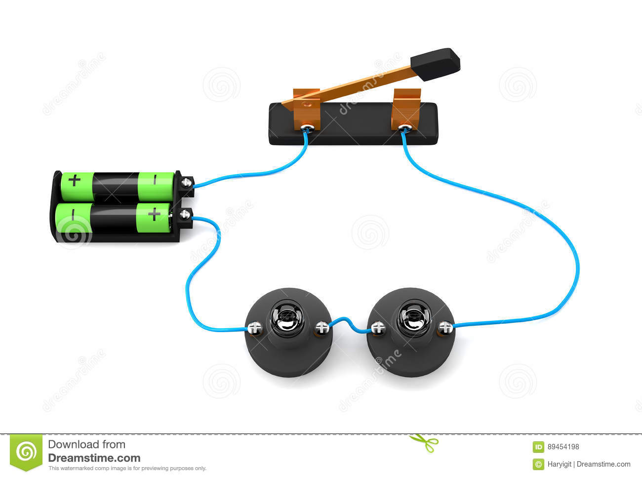 Simple Electric Circuit Series Connection On White Background Stock Electronic Diagram