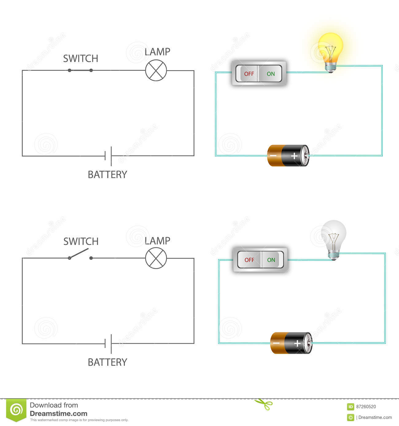 Fine Simple Electric Circuits Stock Vector Illustration Of Electronic Wiring Cloud Hisonuggs Outletorg