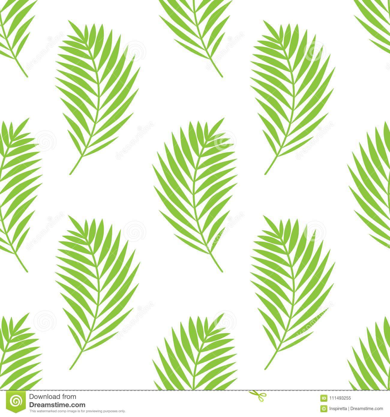 Simple elegant pattern with palm leaves. Green tropical brunches