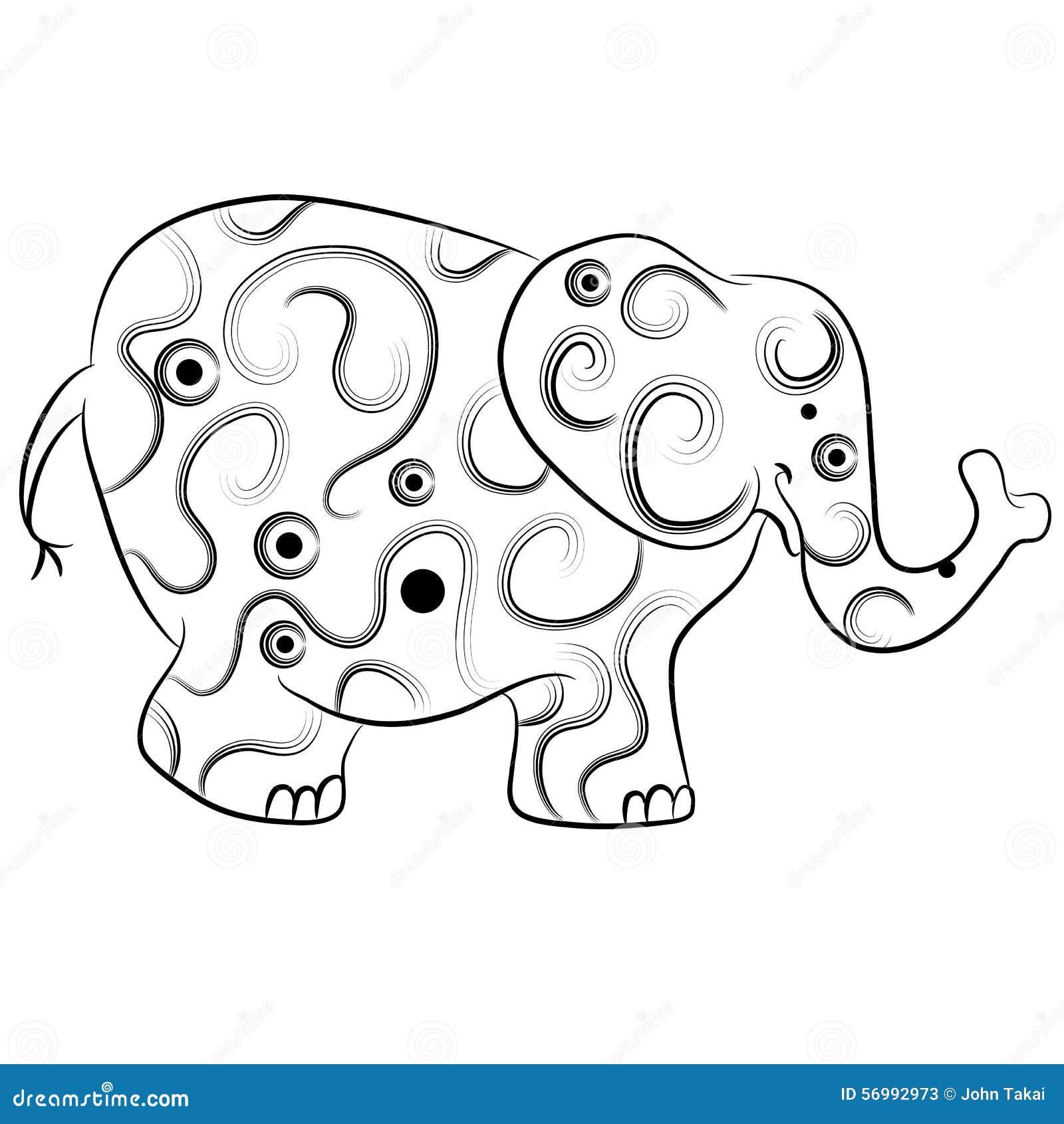 simple elephant outline zentangle style stock vector image 56992973