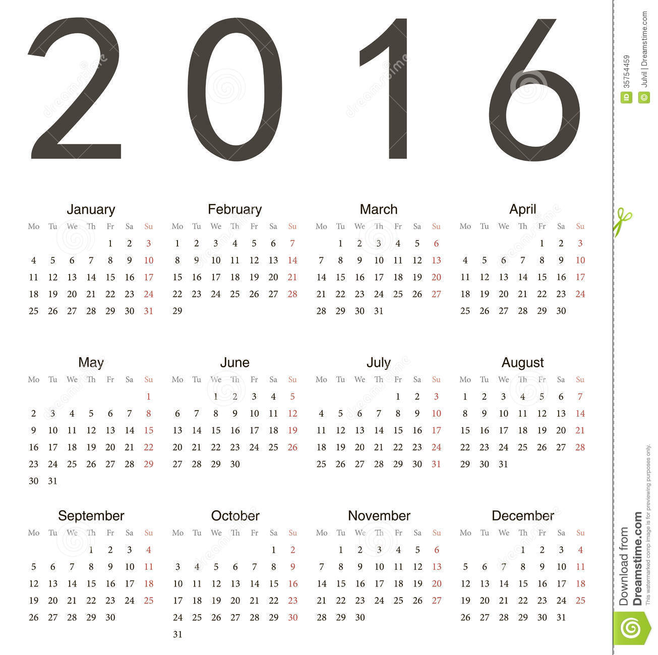 Year Calendar Starting : Simple european square calendar royalty free stock