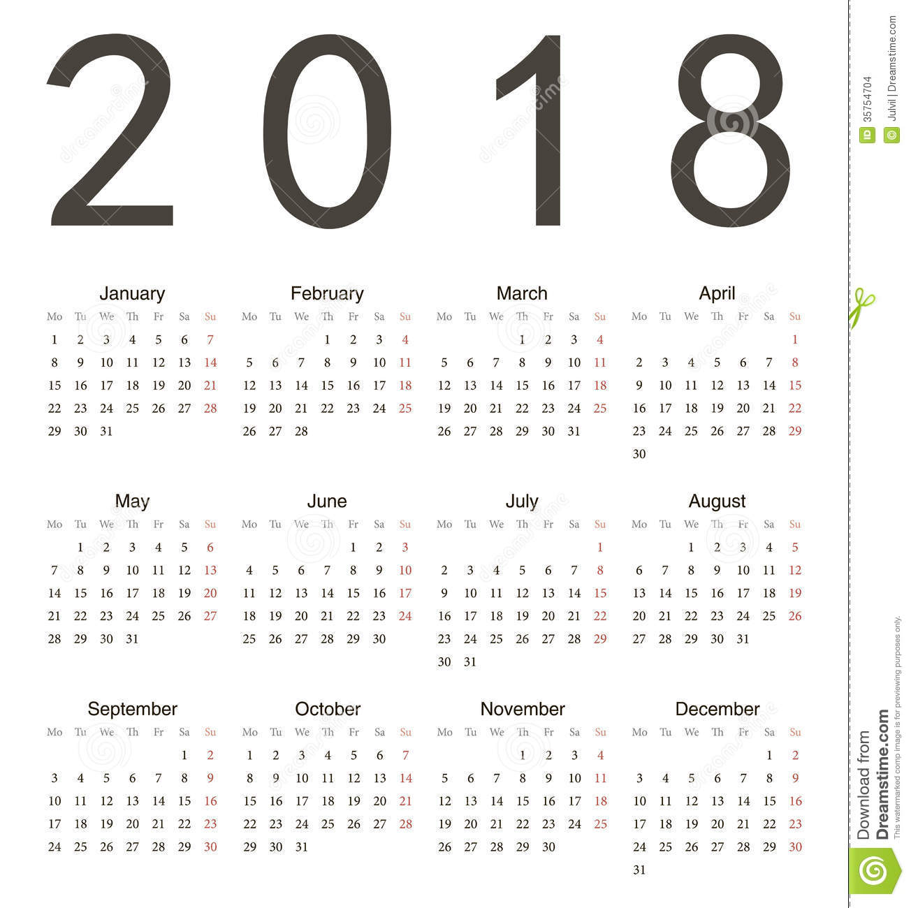 simple european square calendar 2018