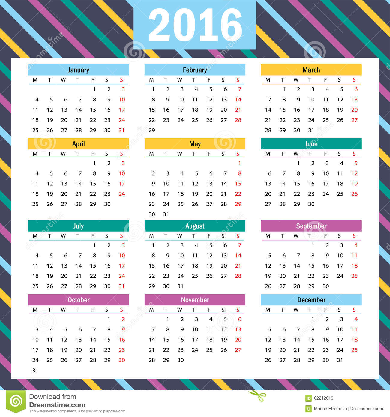 Beautiful Calendar Design : Simple european year vector calendar stock