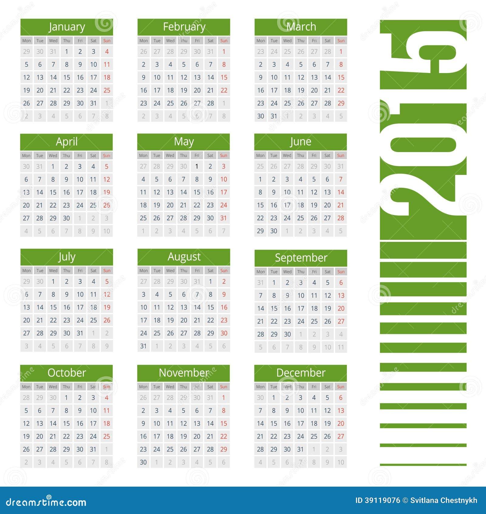 Year Calendar Vector : Simple calendar for year vector illustration