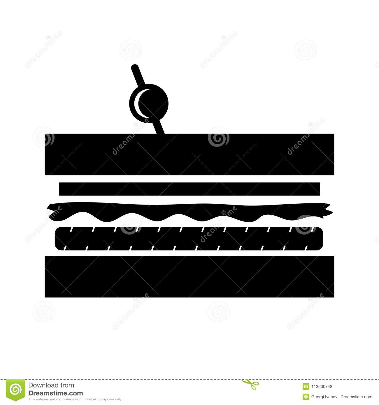 Simple, flat, black club sandwich silhouette illustration/icon. Isolated on white