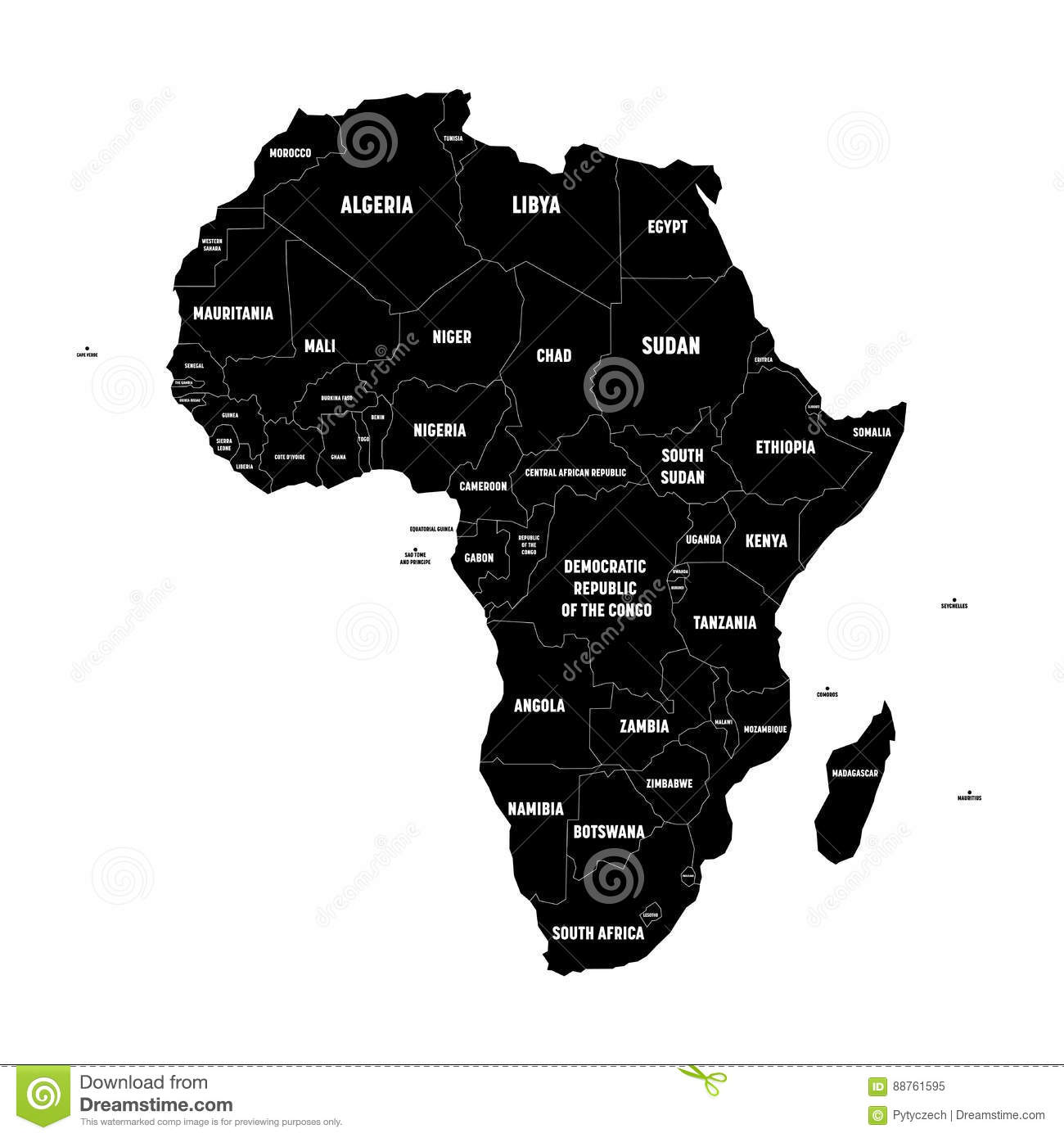 Simple flat black map of africa continent with national borders and simple flat black map of africa continent with national borders and country name labels on white background vector gumiabroncs Images