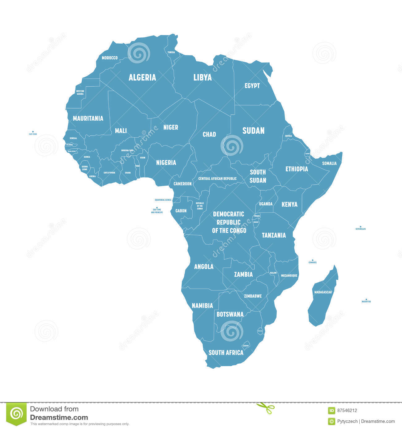 Simple flat blue map of africa continent with national borders and download simple flat blue map of africa continent with national borders and country name labels on gumiabroncs Gallery