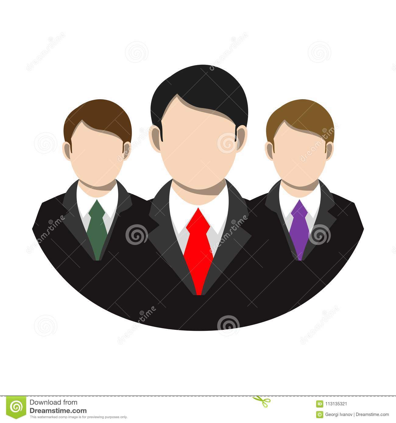 Simple, Flat Businessmen Suit And Tie Team Icon. Isolated On