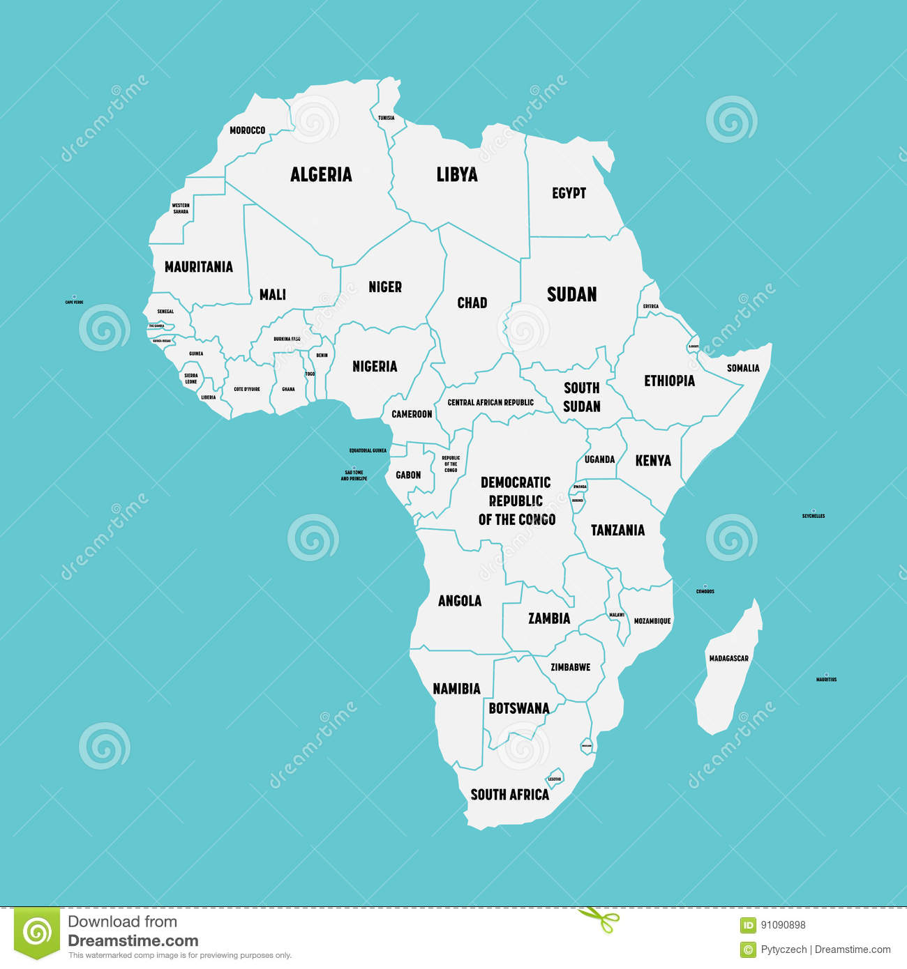 Abstract Africa Map With Country Borders Stock Photos Image