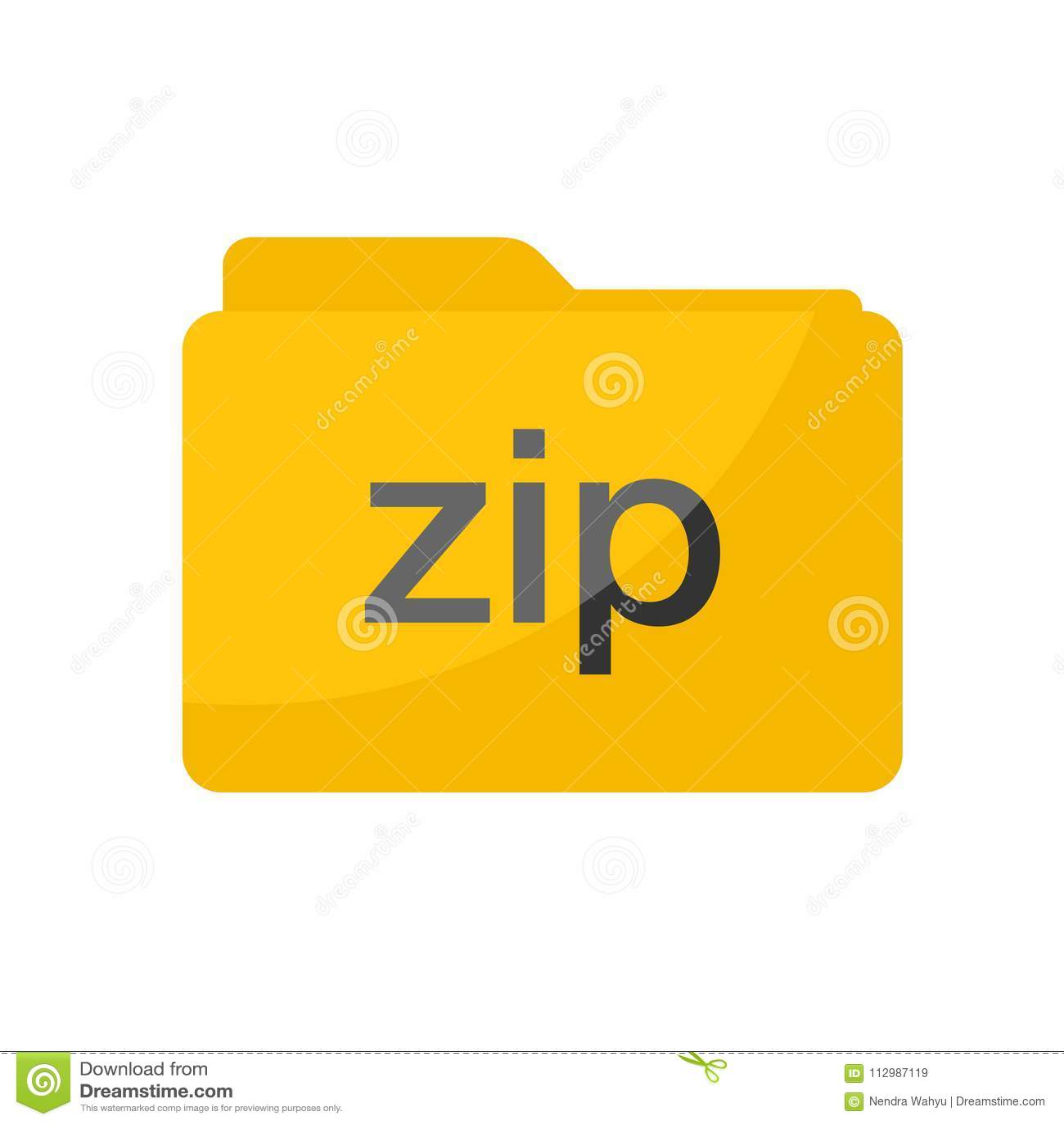 Simple Flat minimalist yellow zip compressed file folder icon