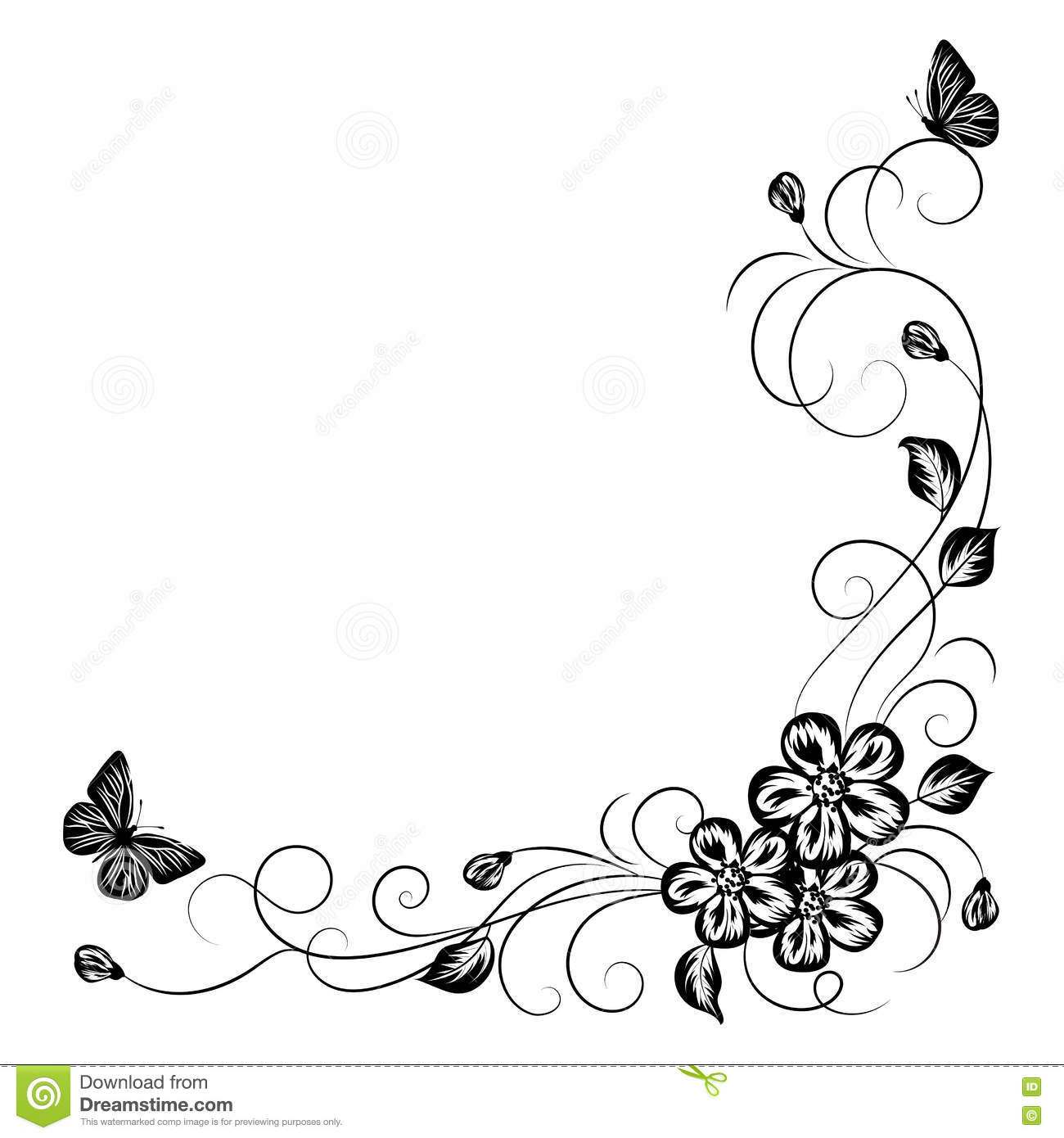Simple Floral Background In Black And White Stock Vector ...