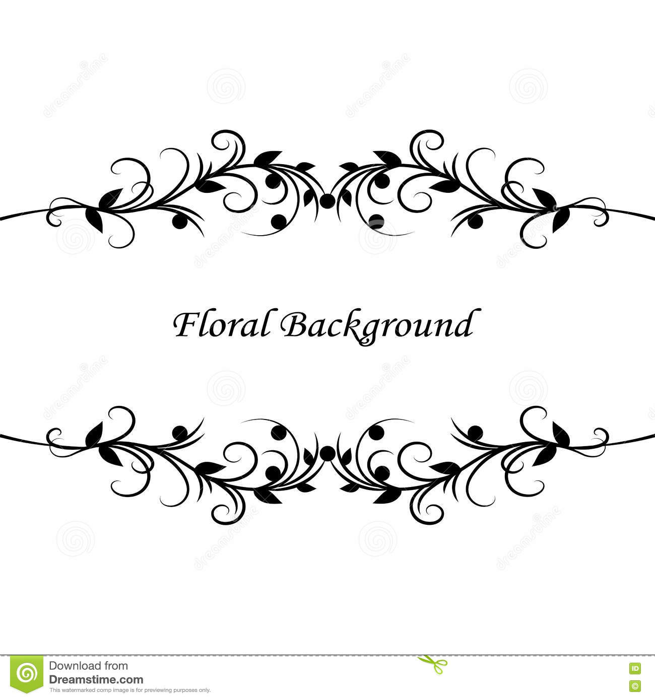 Simple Floral Background In Black And White Illustration 75328124