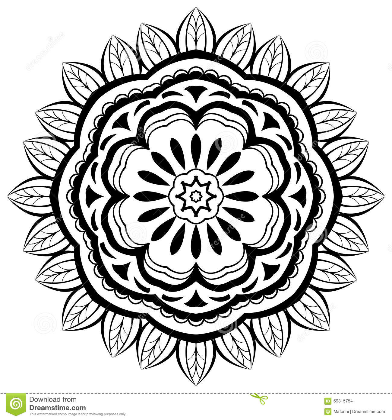 Simple Floral Mandala Stock Vector