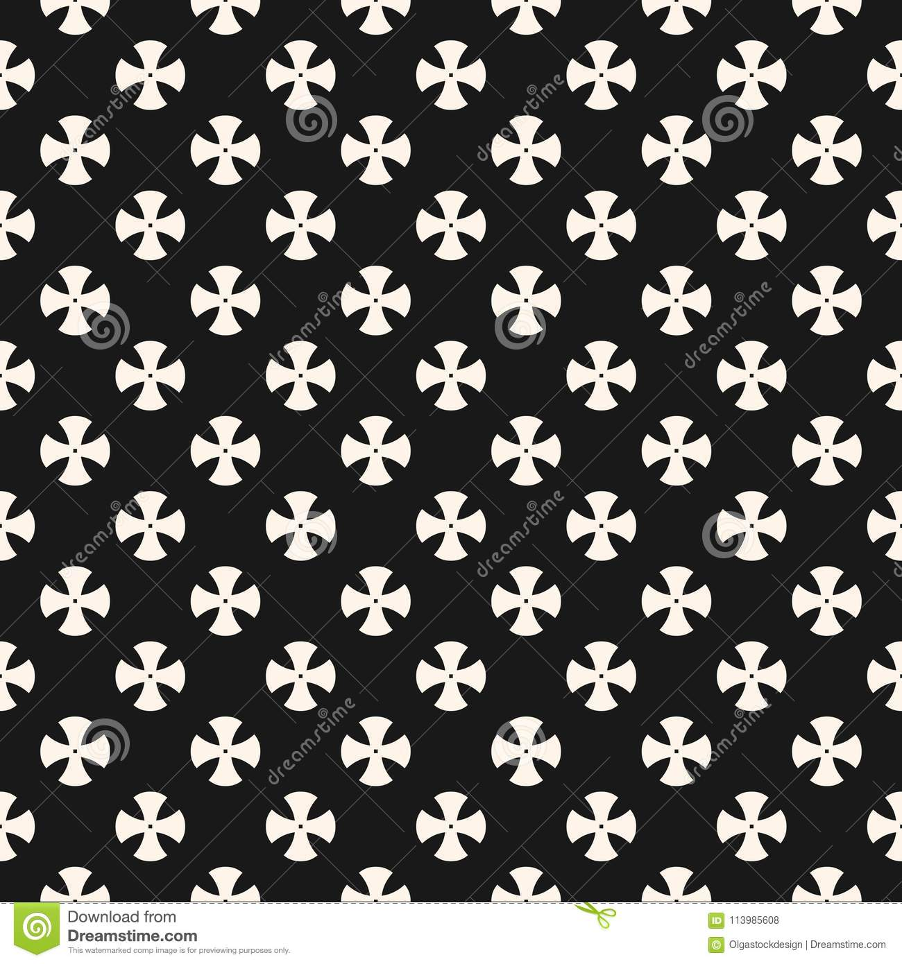 Download Simple Floral Pattern Black And White Repeat Design For Textile Decor Fabric