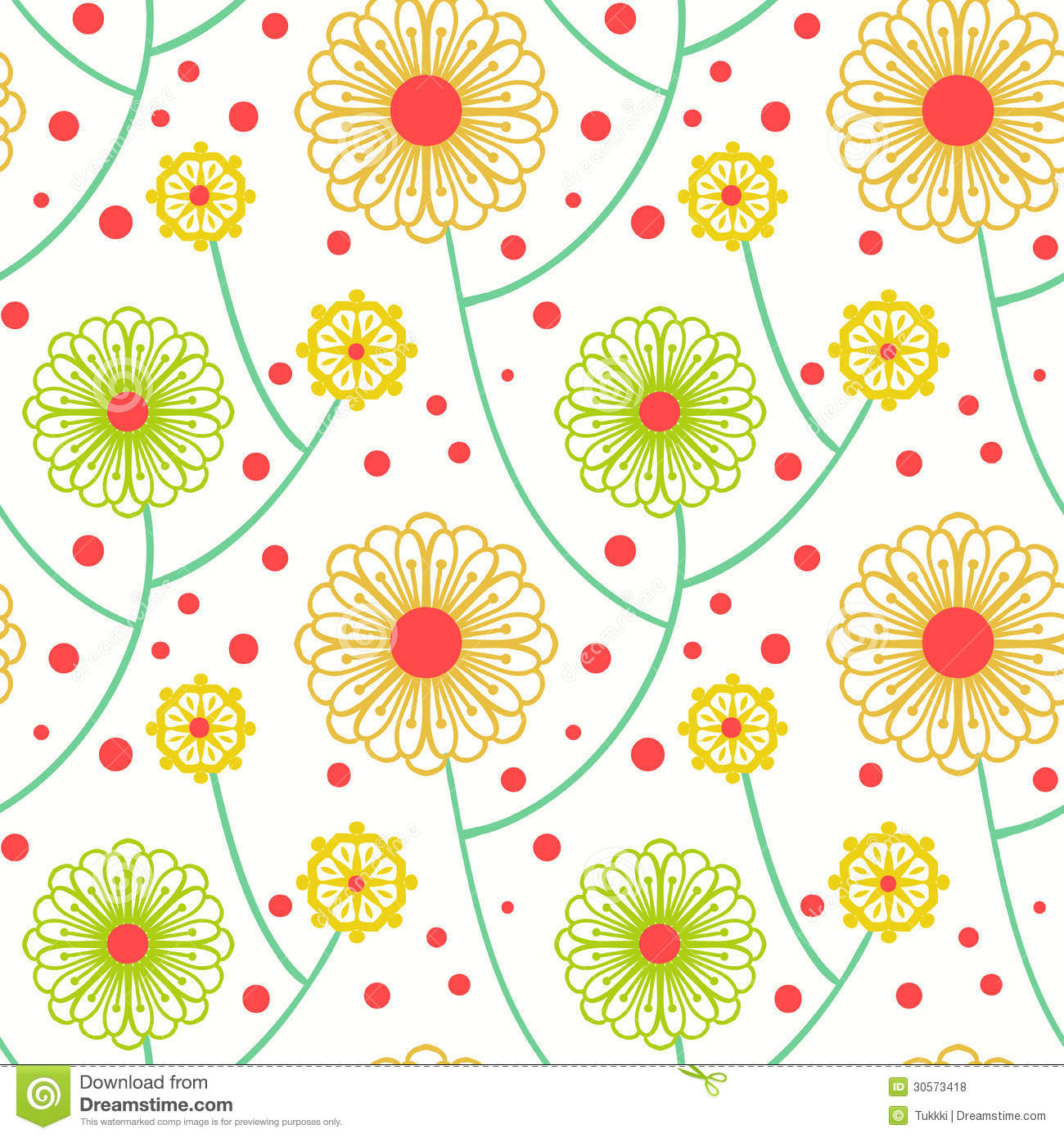 Simple Floral Pattern With Bold Flowers Stock Vector ...