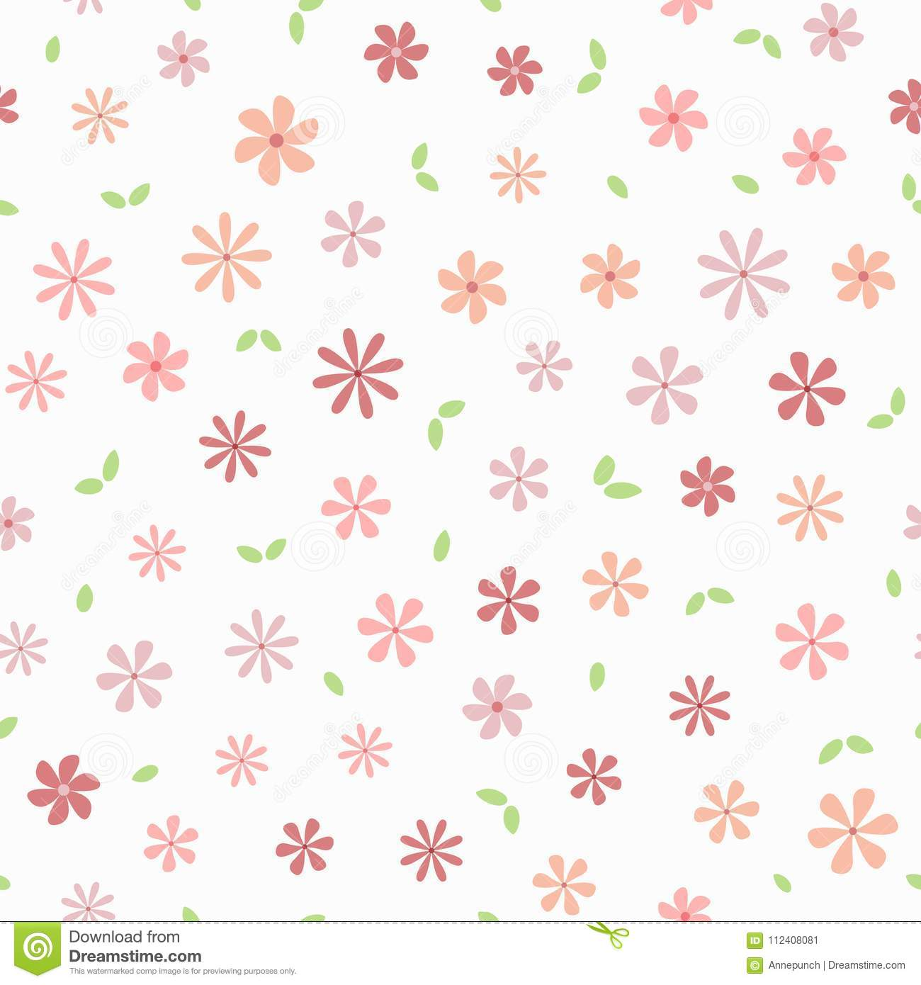 Simple Floral Seamless Pattern. Repeated Flowers And ...