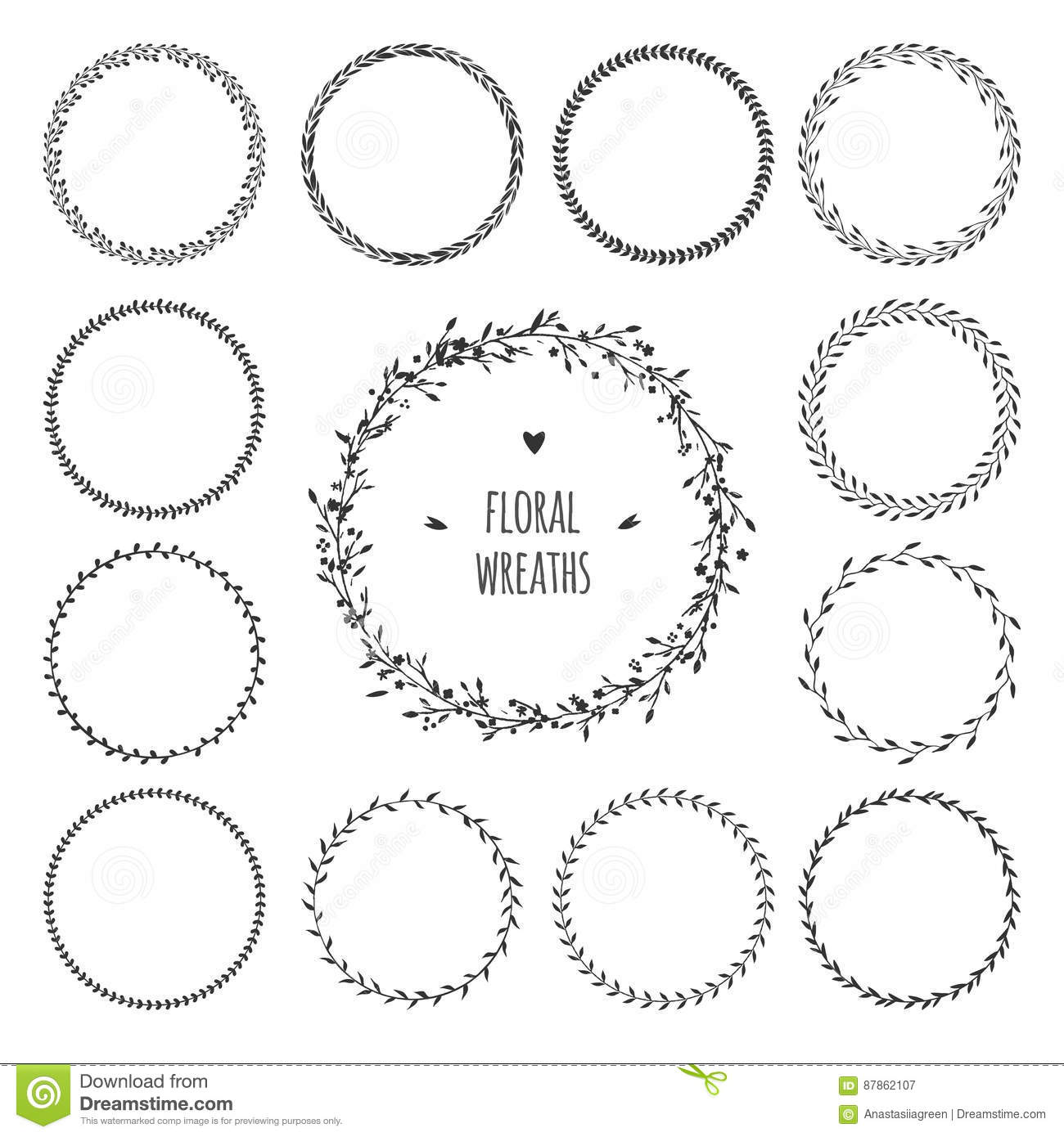 Set of simple floral spring wreaths vector round wreaths isolated on white black and white garland with flowers