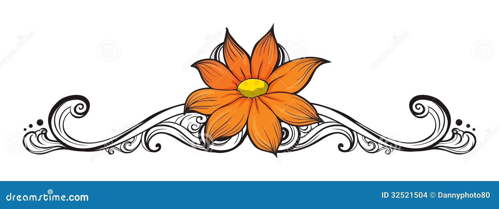A simple flower border stock images image 32521504 for Illustration minimaliste