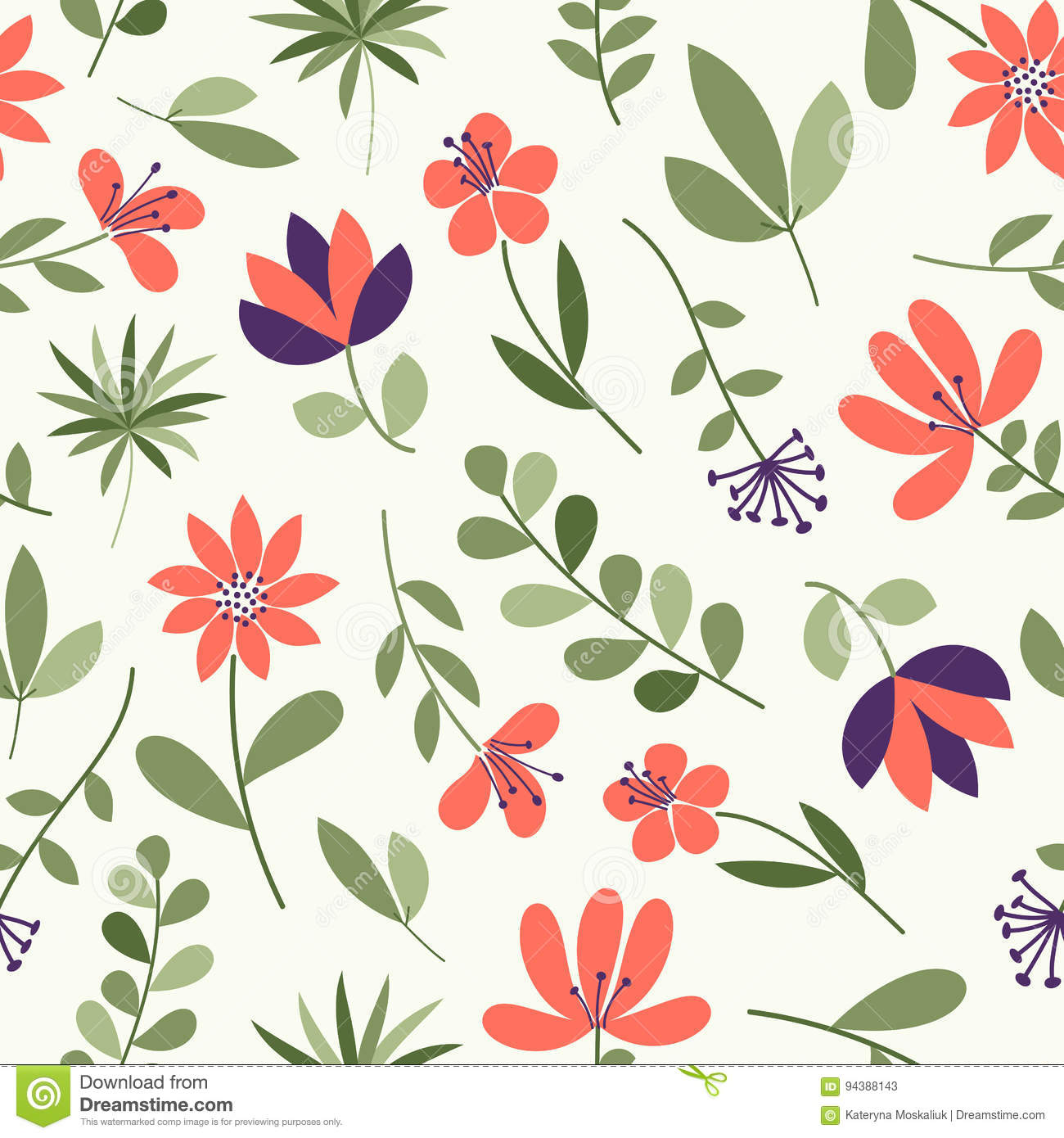 Simple Flower Pattern Seamless Cute Floral Background Vector