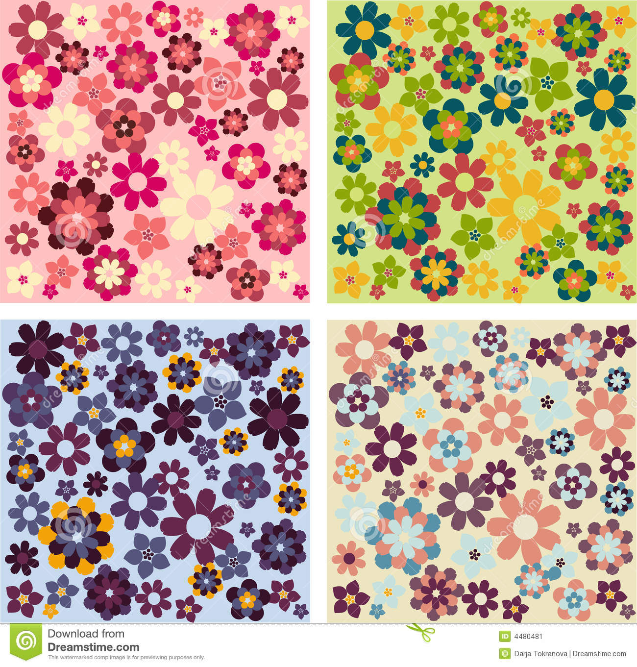 Simple flower patterns stock vector Image of decorative