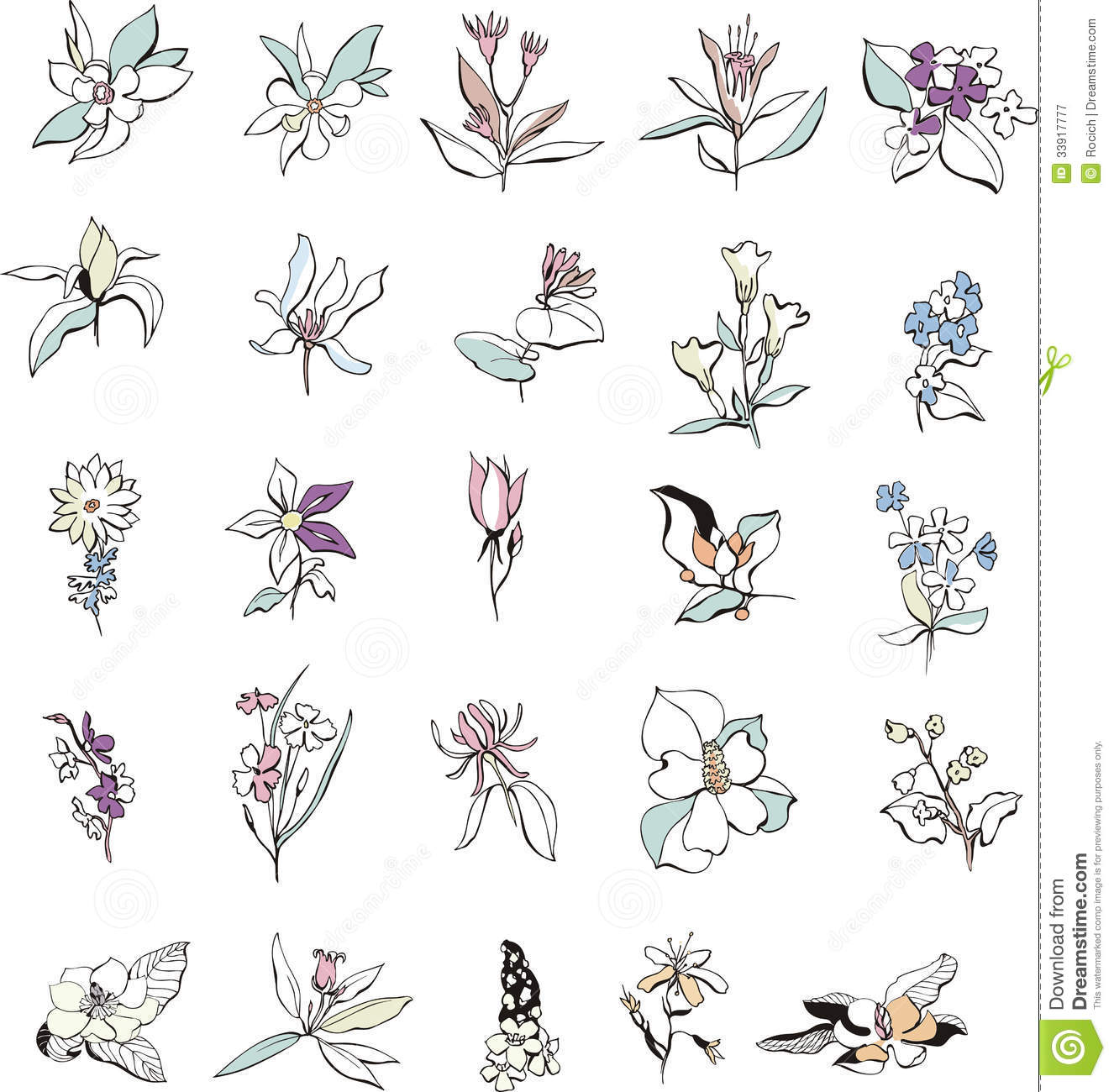 Simple Flower Sketches Royalty Free Stock Photography