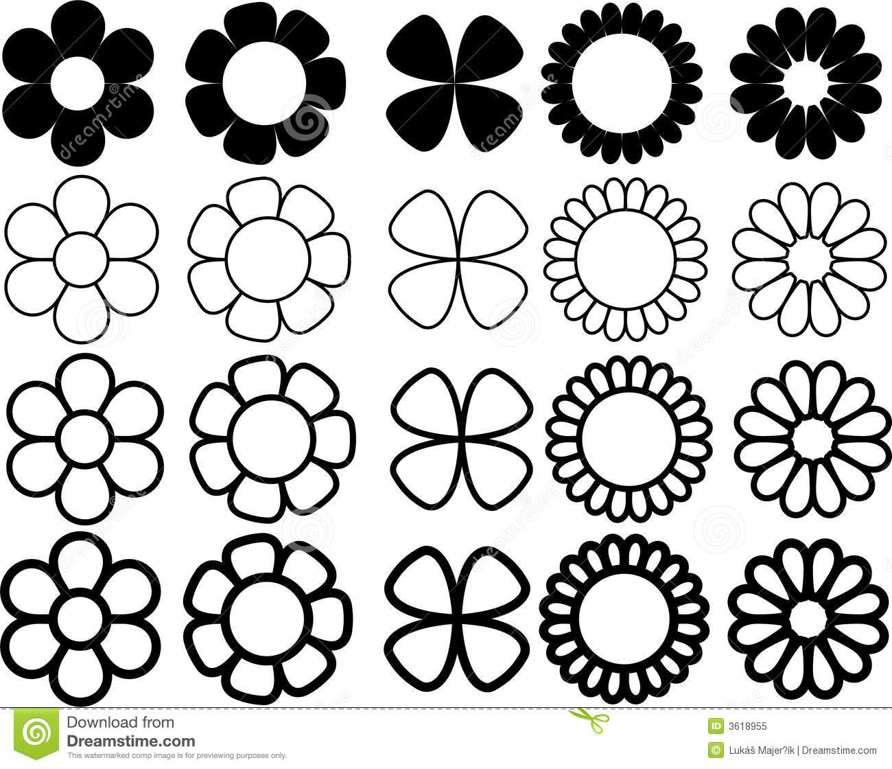 Simple flowers black and white illustration 3618955 megapixl mightylinksfo