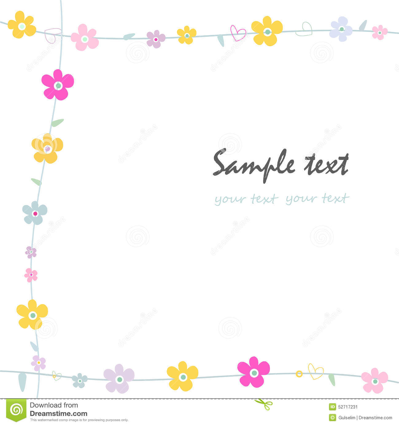 Simple Flowers Decorative Frame Greeting Card Stock Vector ...