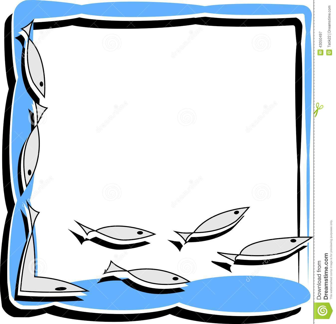Simple Frame With Abstract Fish Stock Vector - Illustration of ...