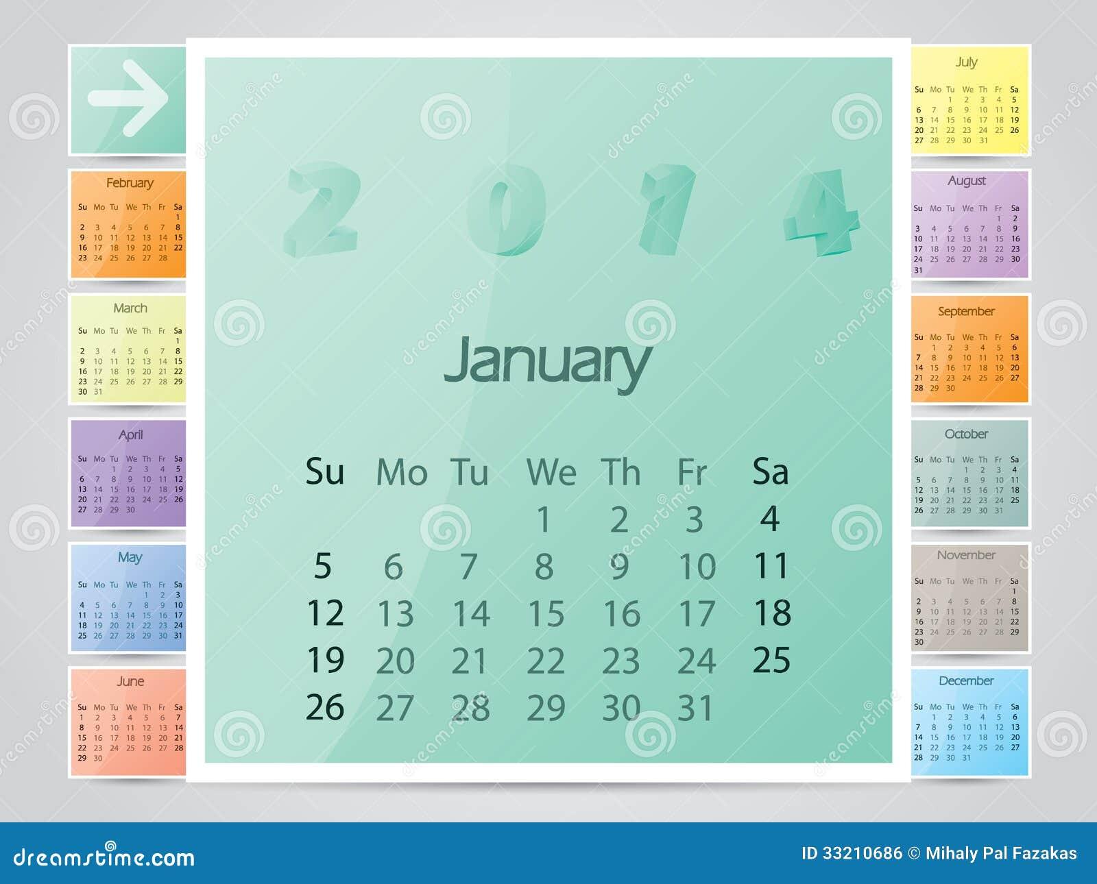 simple frame like color 2014 calendar