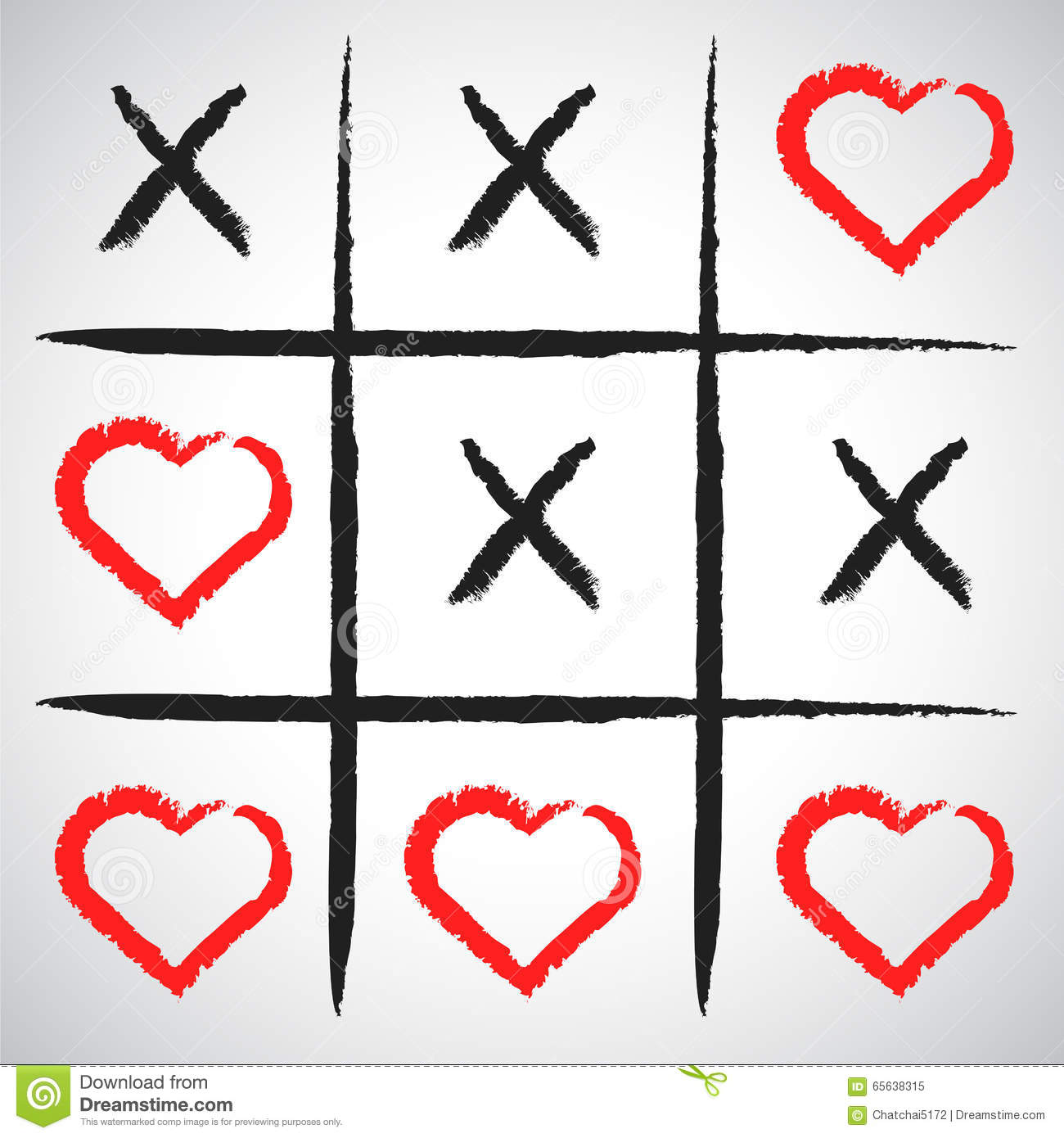 Simple Game - X-O Game.Hand Drawn Tic-tac-toe Elements.Happy Val ...