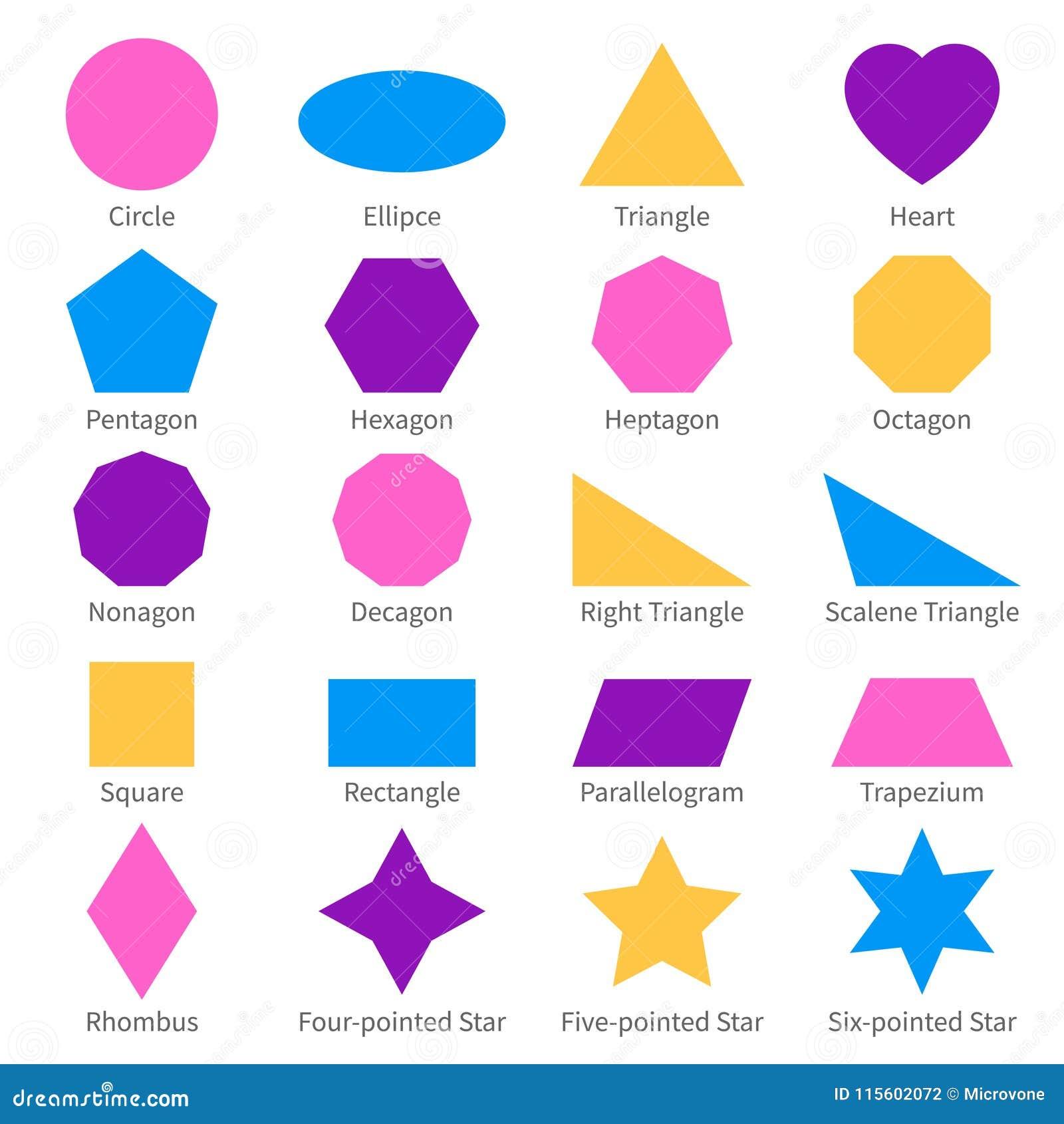 Simple Geometric 2d Shapes  School Geometry Vector Diagram Stock Vector
