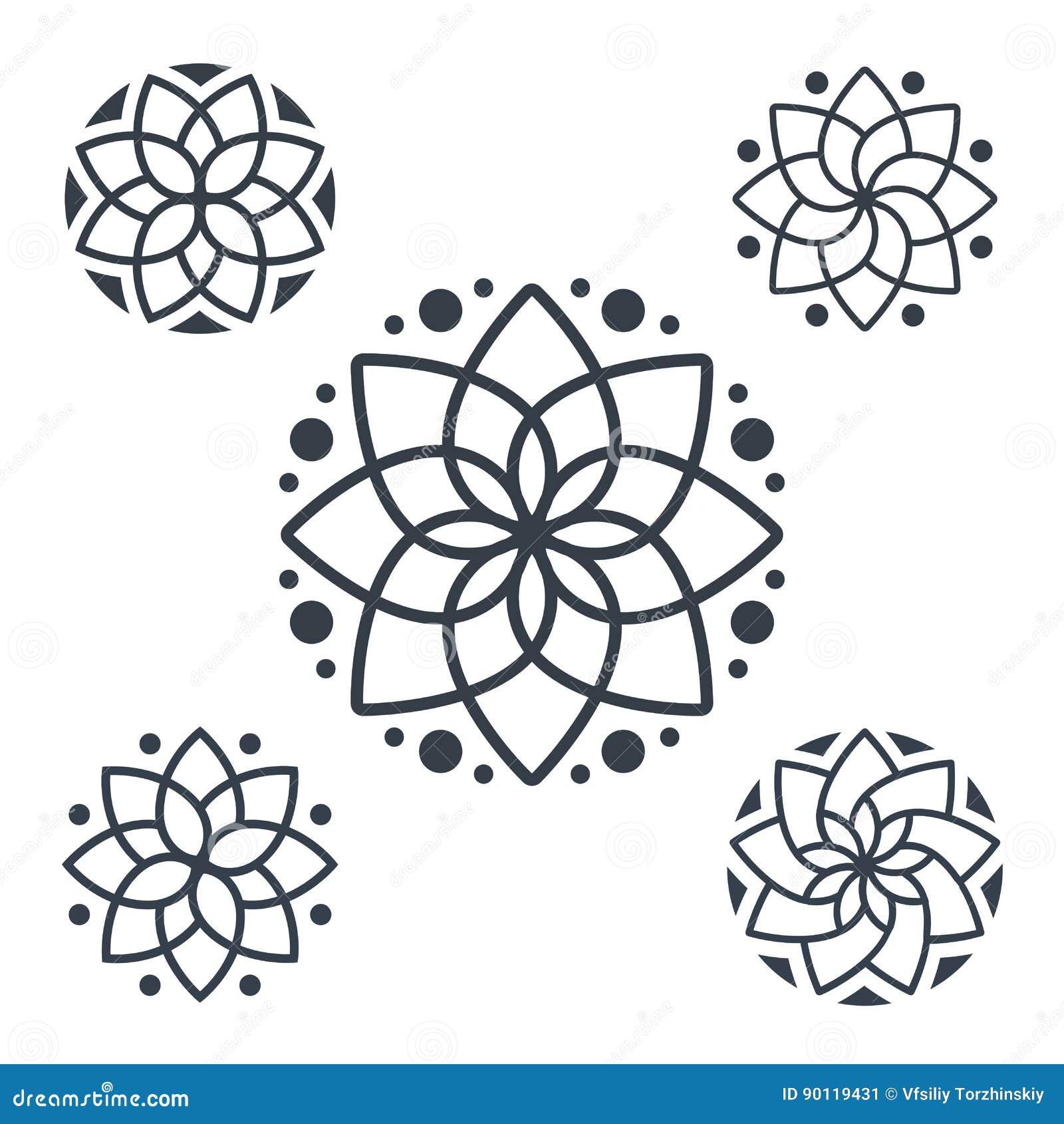 simple geometric mandala logotype circular logo for boutique flower shop business interior. Black Bedroom Furniture Sets. Home Design Ideas