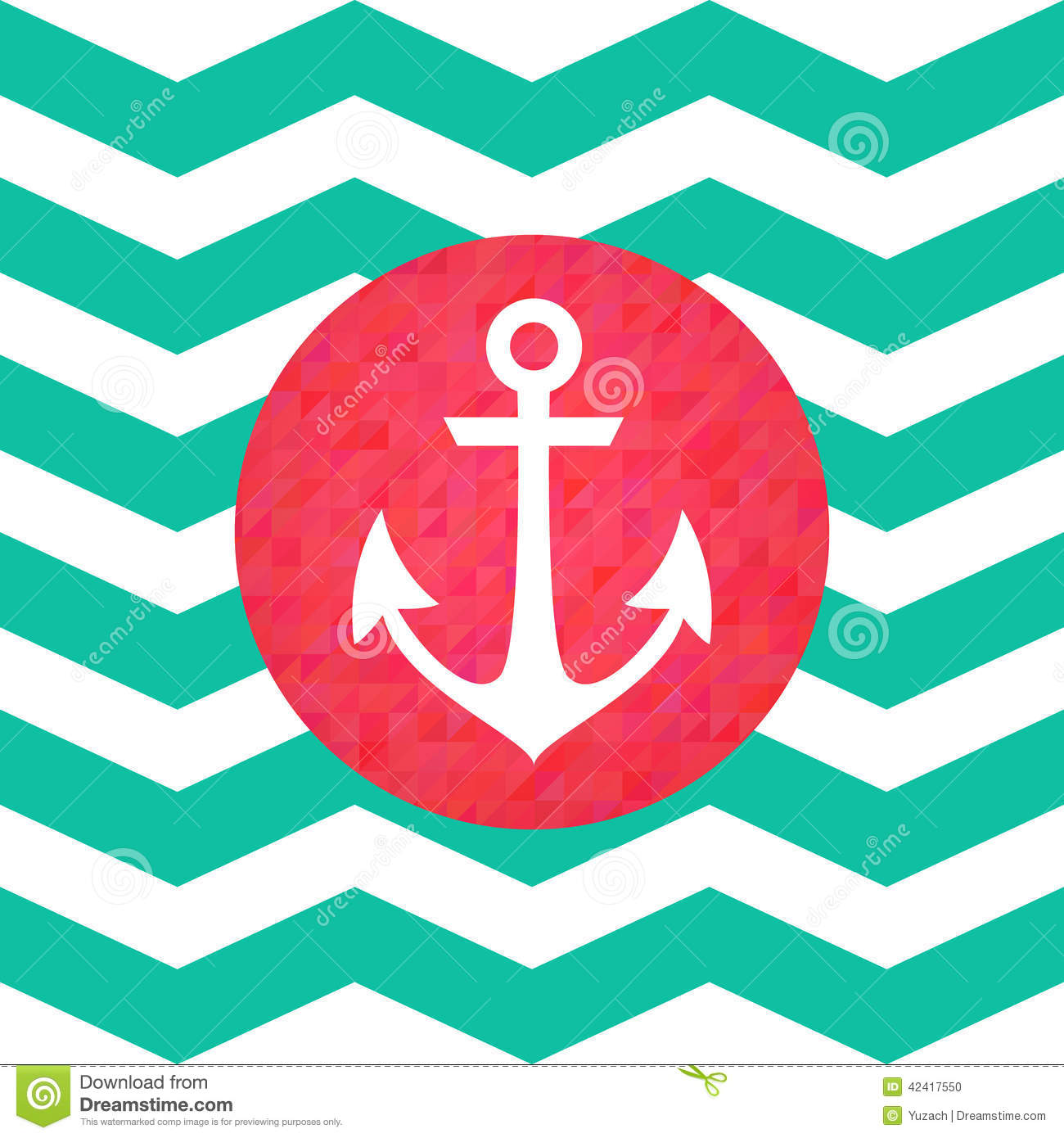 Simple Geometric Nautical Card With Anchor Stock Vector