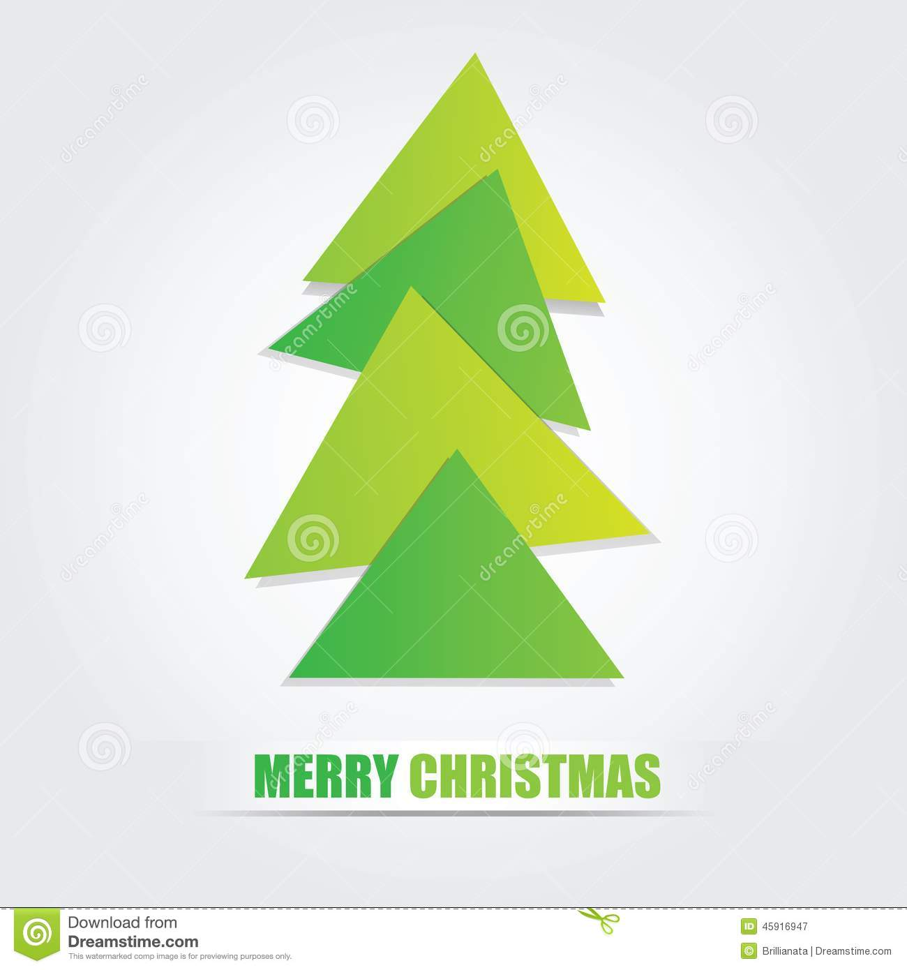 The Simple Geometric Triangle Form Christmas Tree Stock Vector ...