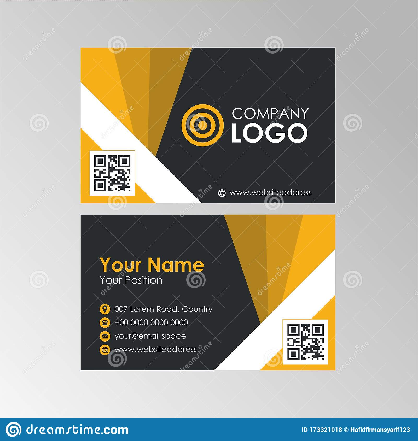 Simple Geometric Yellow And Black Business Card Design Template Within Qr Code Business Card Template