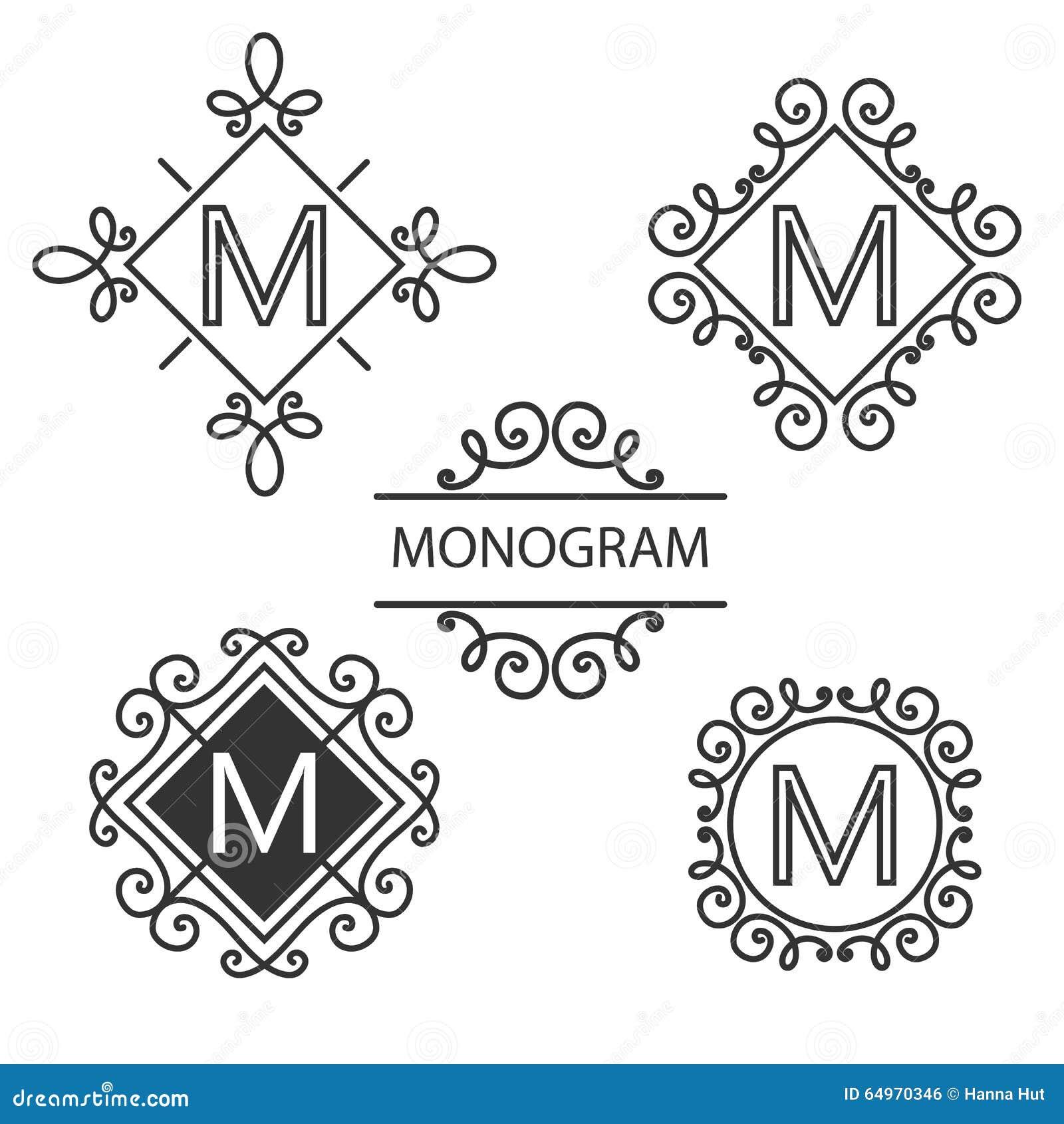 Simple Elegant Line Art : Simple and graceful monogram design template stock vector