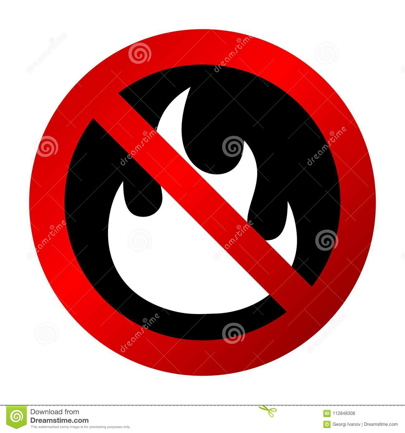 Simple, gradient `No fire` sign/icon. Red sign, white fire silhouette on black