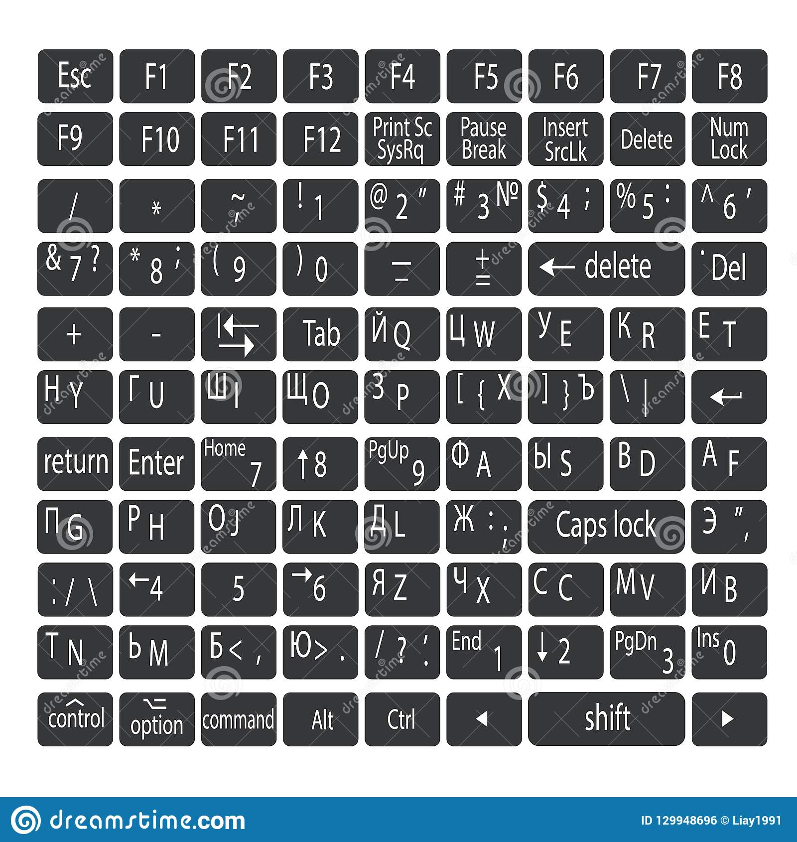 Simple gray keyboard buttons with white letters. English and Russian keyboard languages.