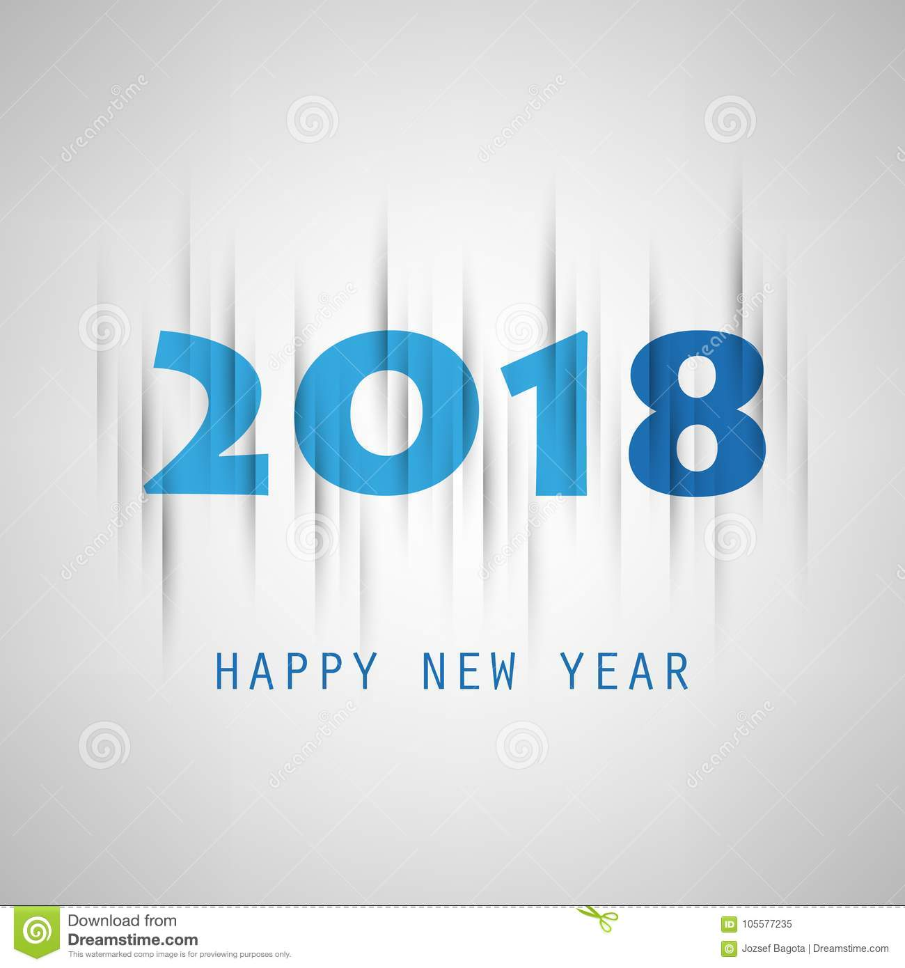 simple grey and blue new year card cover or background design template 2018